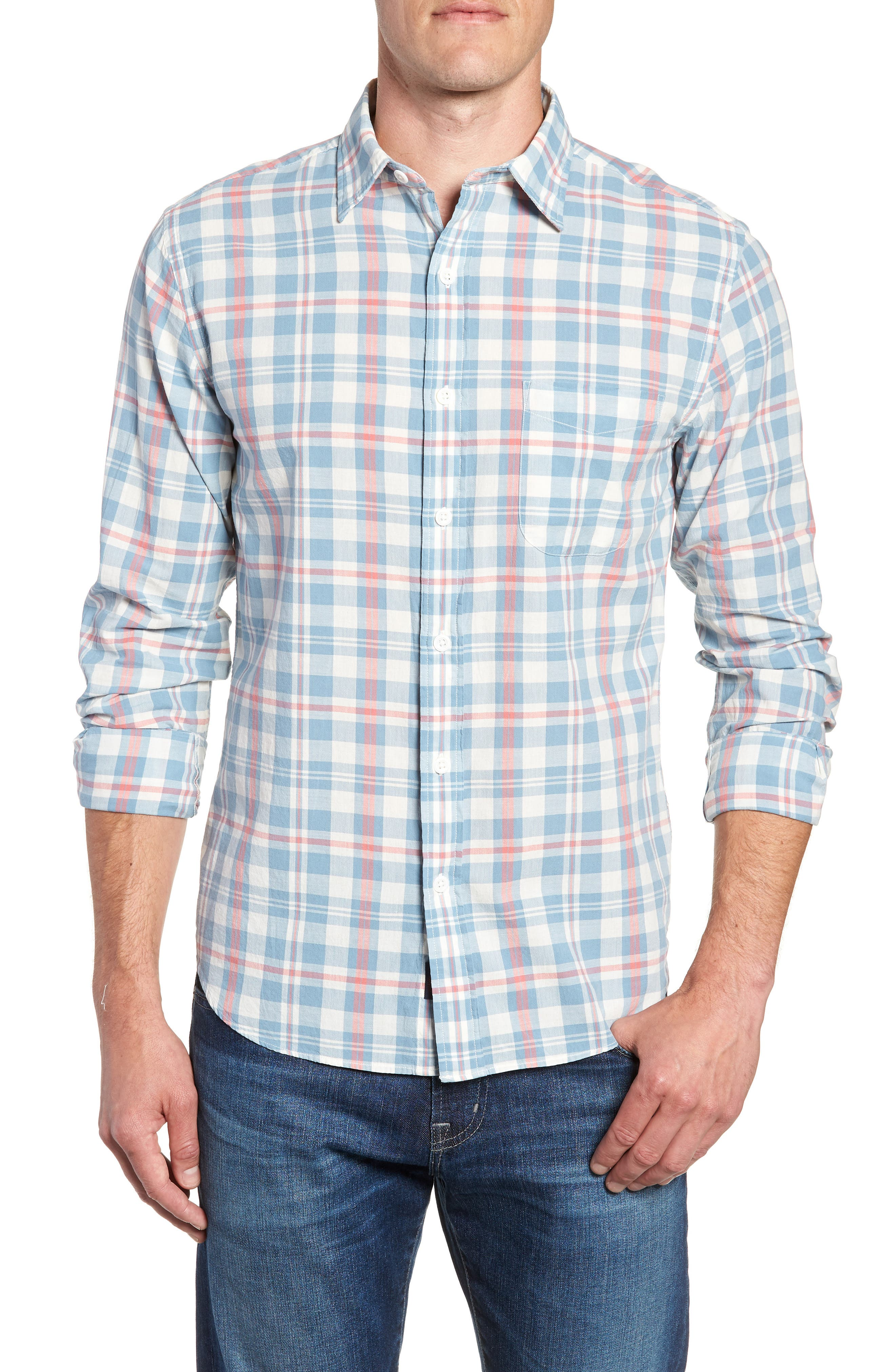 Ventura Plaid Sport Shirt,                             Main thumbnail 1, color,                             Washed Blue Cream