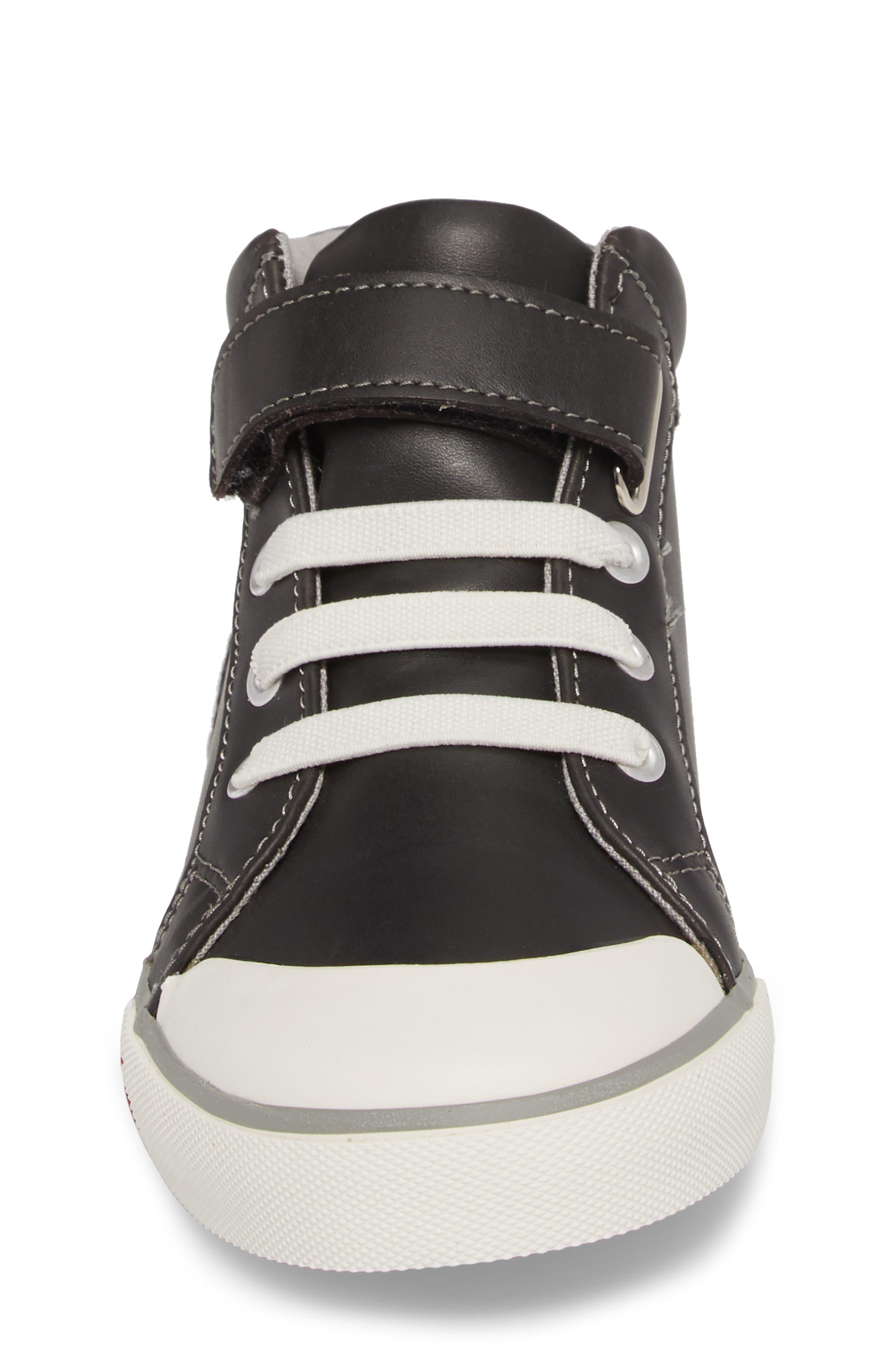 Peyton Metallic Mid Top Sneaker,                             Alternate thumbnail 6, color,                             Black Leather