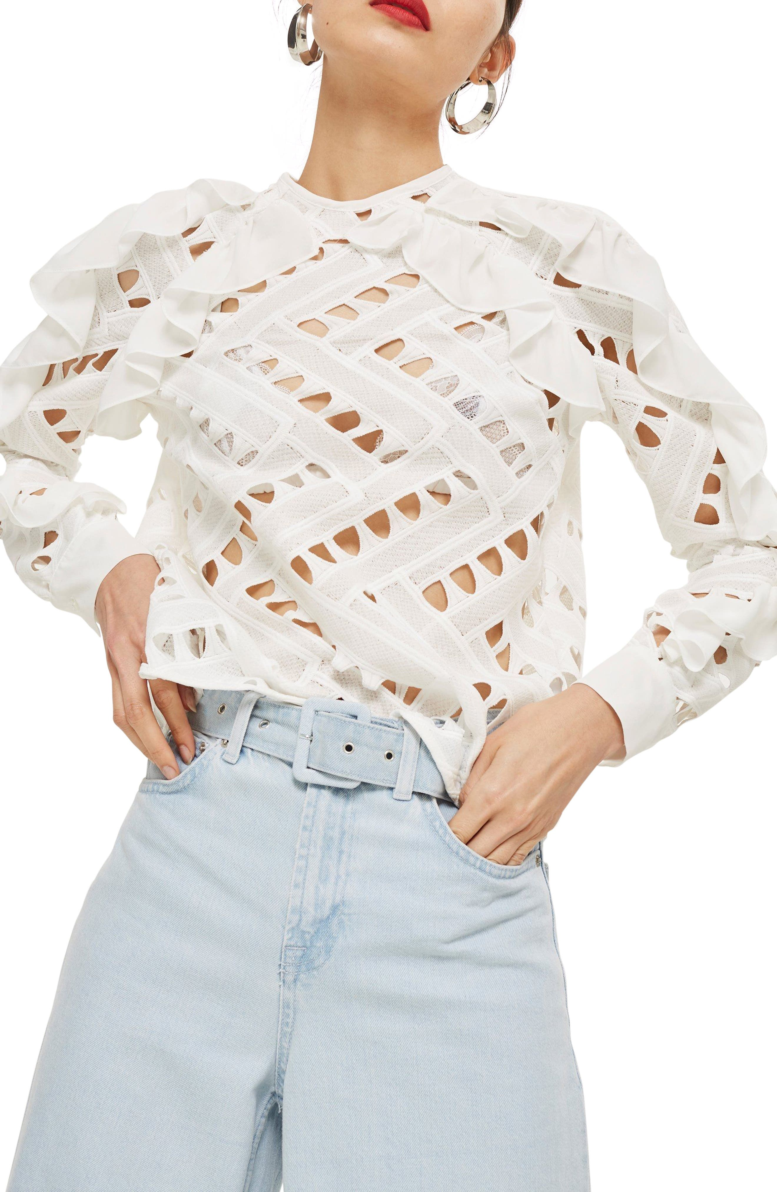 Zigzag Lace Top,                         Main,                         color, Ivory