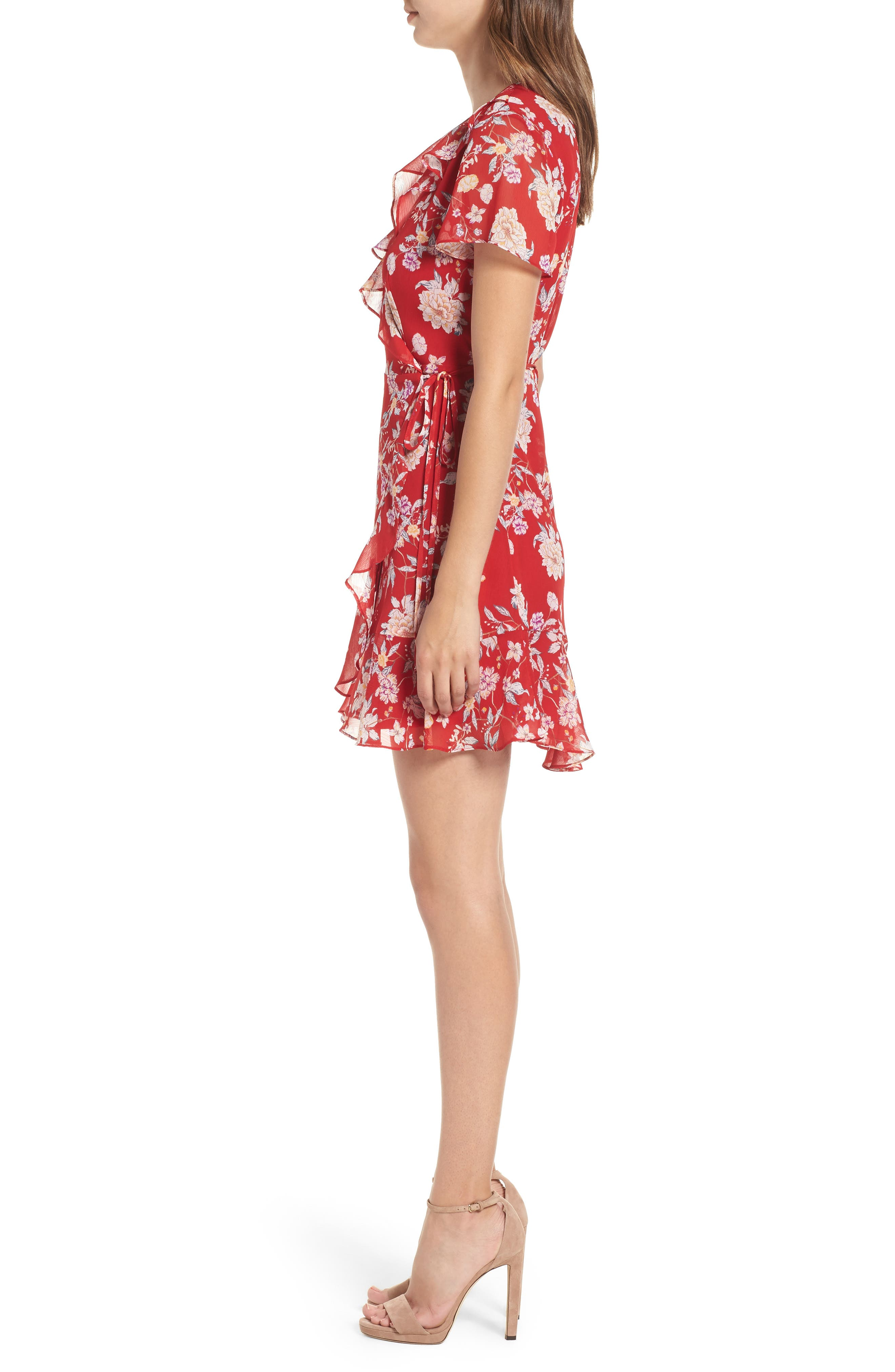 Colie Ruffle Wrap Dress,                             Alternate thumbnail 3, color,                             Red Floral