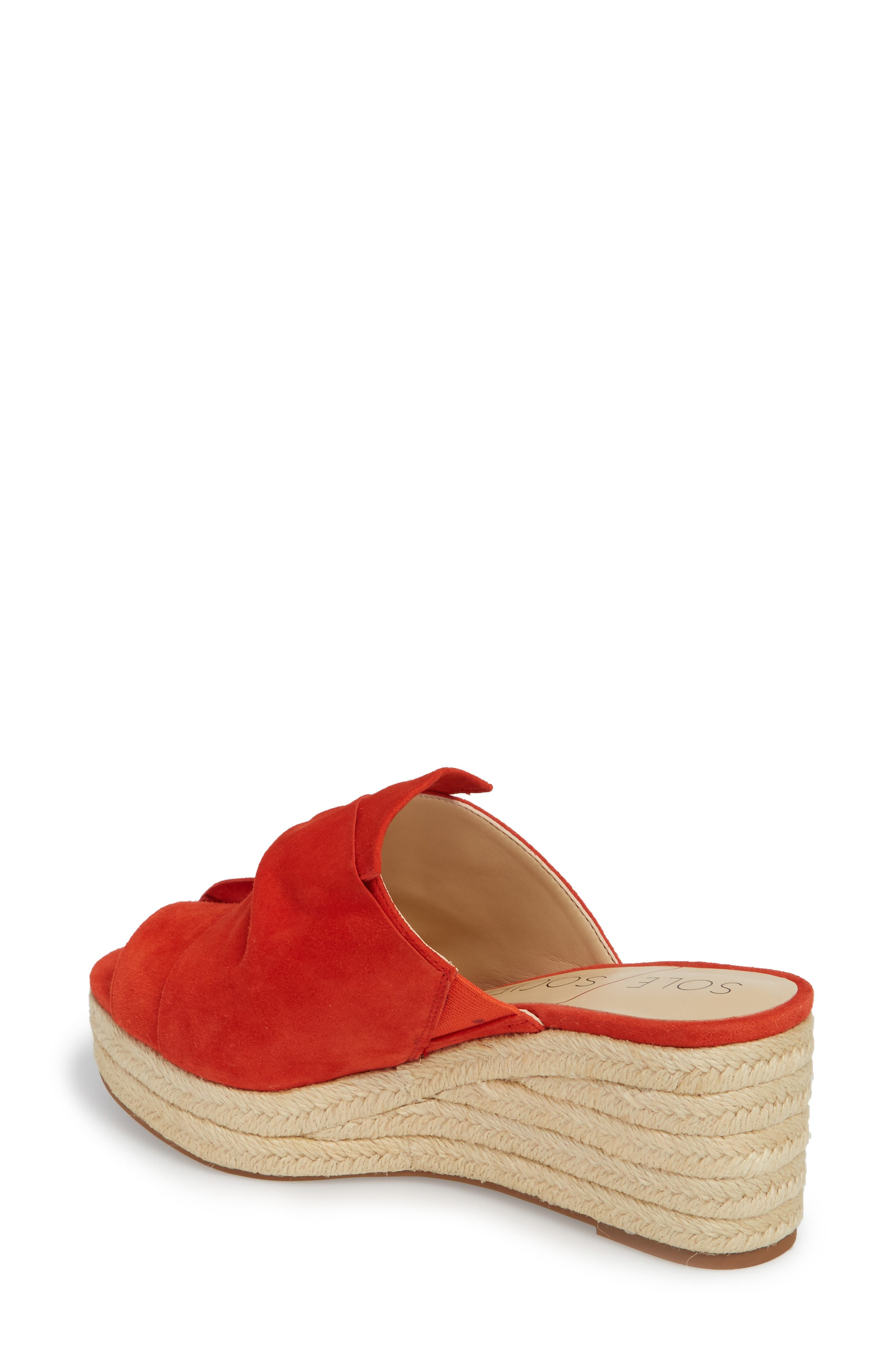 Carima Espadrille Wedge,                             Alternate thumbnail 2, color,                             Bright Coral Suede