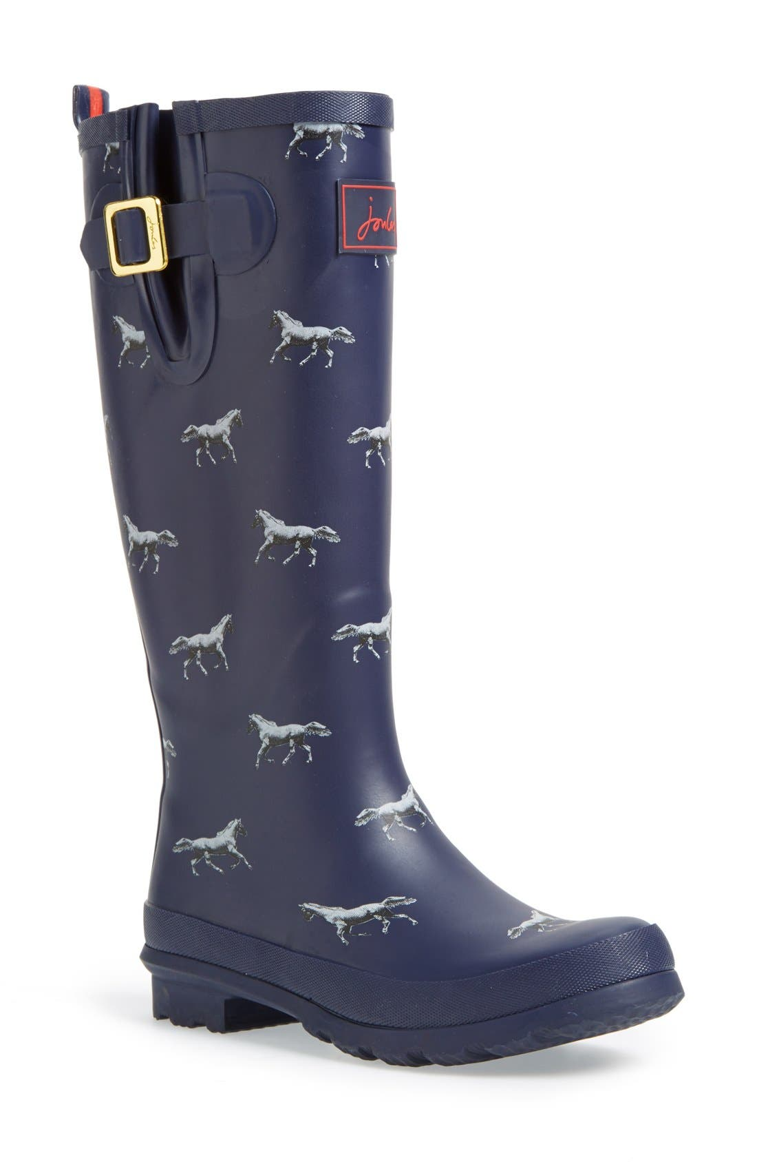 Print Welly Rain Boot,                         Main,                         color, Navy Horse