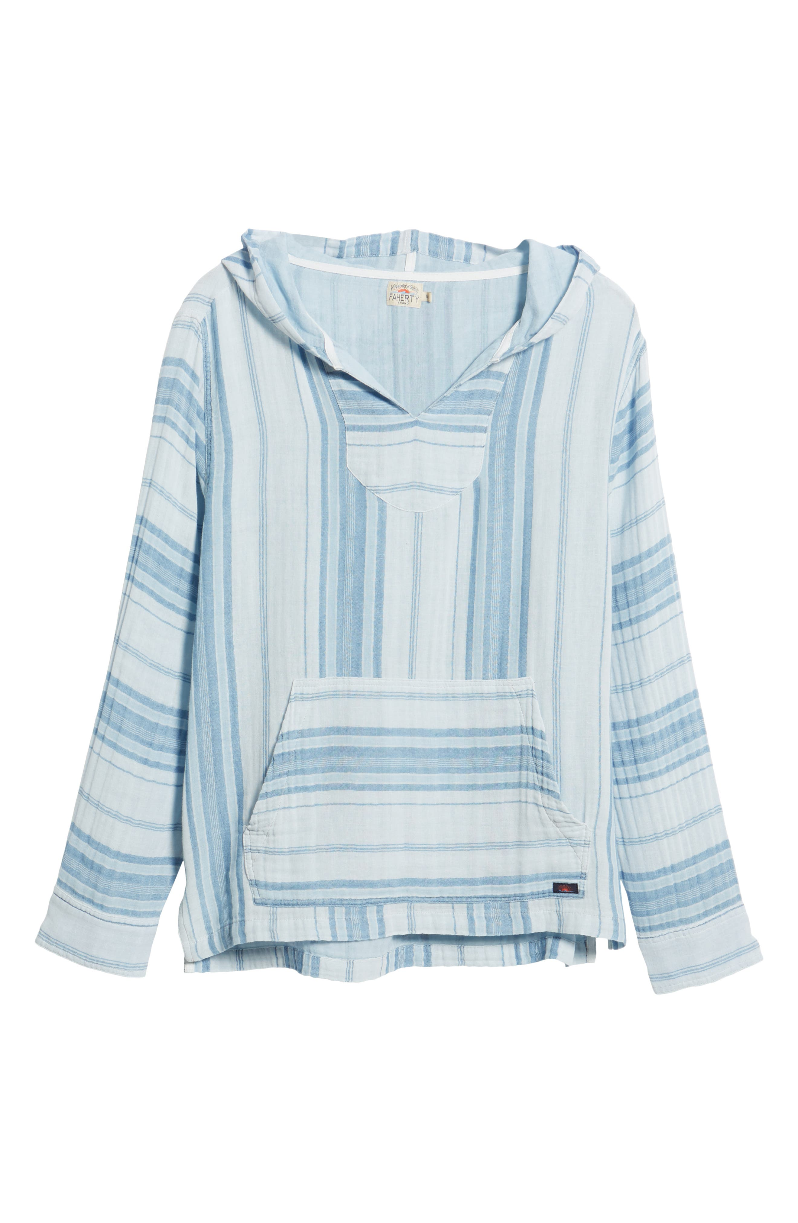 Baja Double Cloth Poncho,                             Alternate thumbnail 6, color,                             Light Indigo Serape