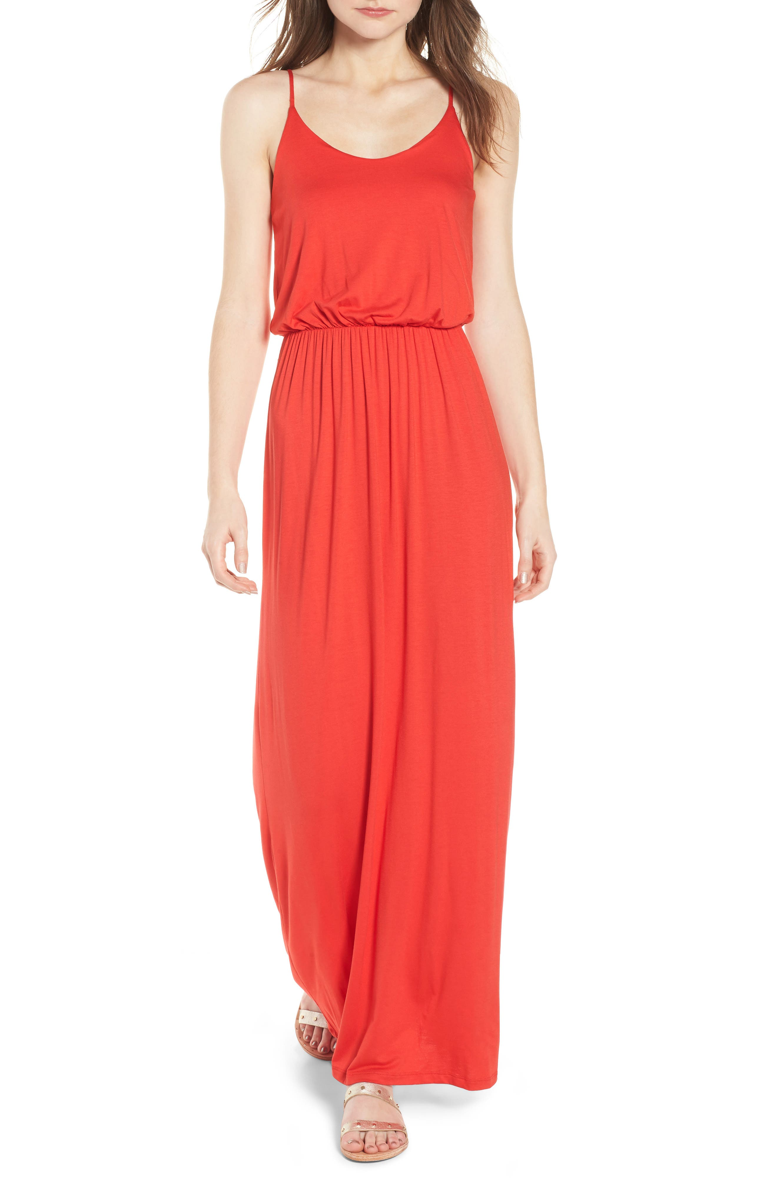 Knit Maxi Dress,                         Main,                         color, Coral
