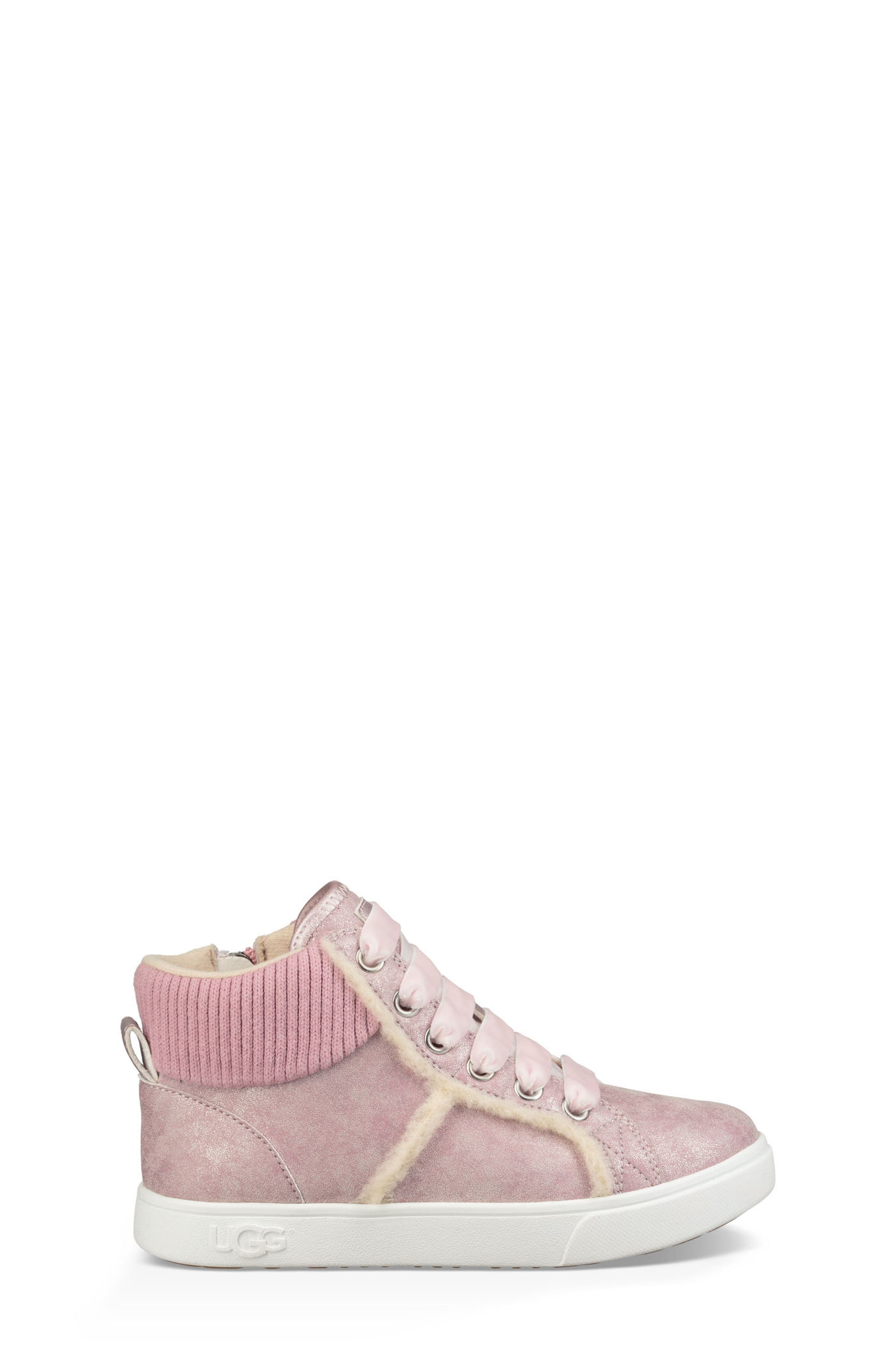 Addie Genuine Shearling High Top Sneaker,                             Alternate thumbnail 4, color,                             Cameo Pink