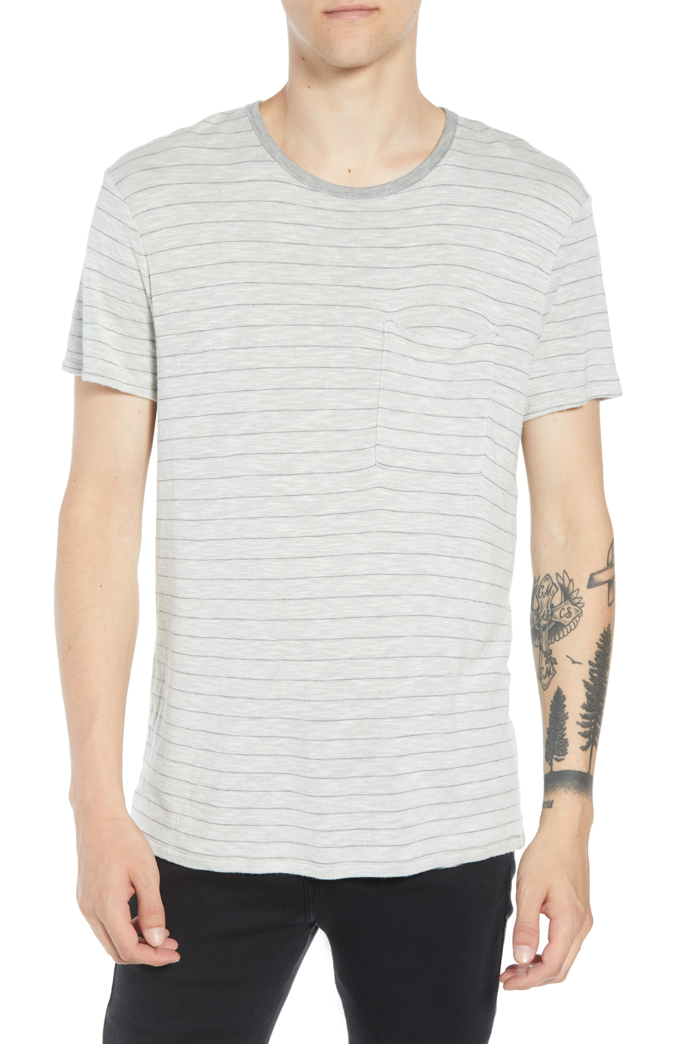 Slim Fit Stripe Slub Jersey T-Shirt,                             Main thumbnail 1, color,                             Grey Stripe