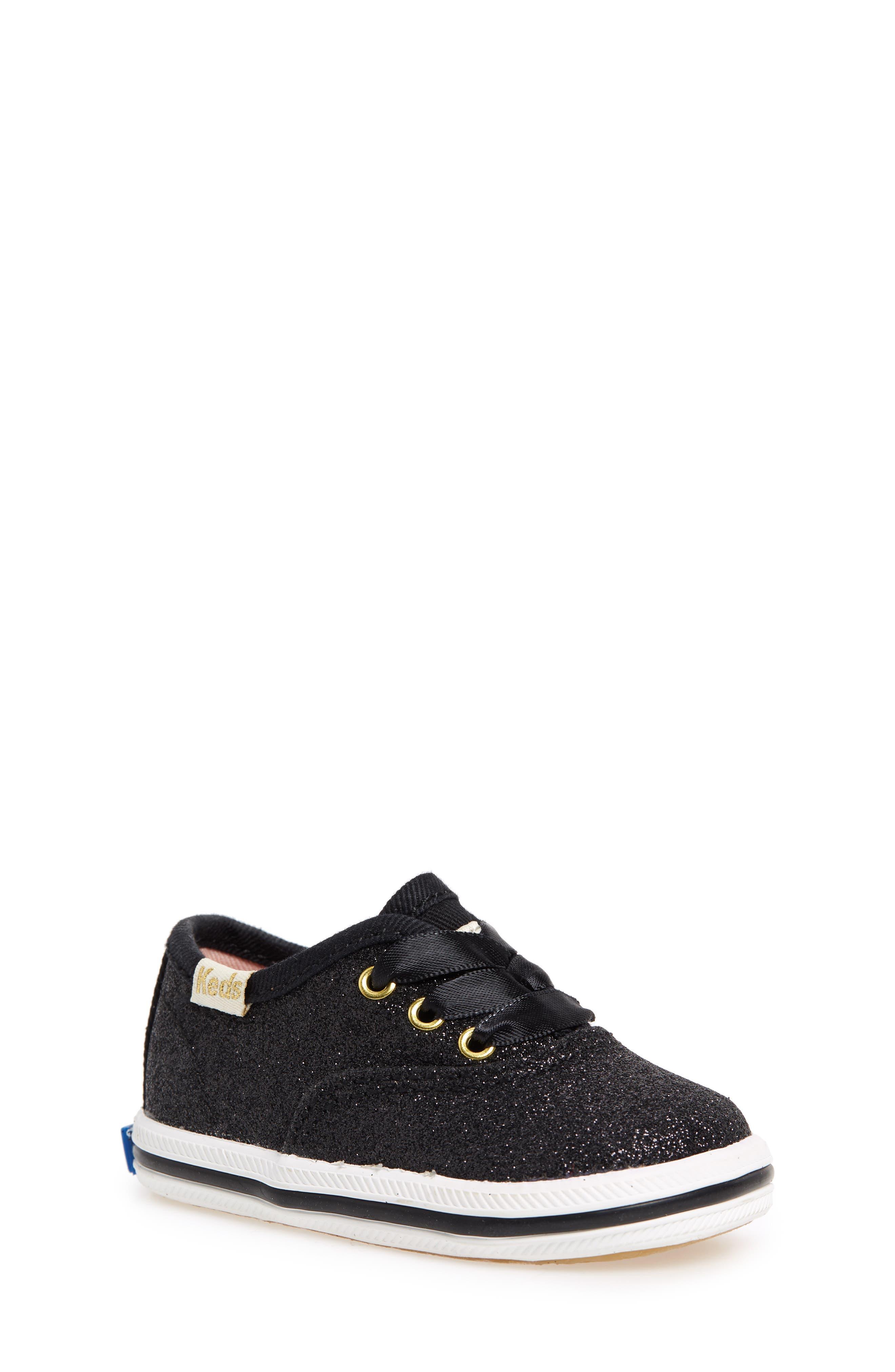 x kate spade new york Champion Glitter Crib Shoe,                             Main thumbnail 1, color,                             Black