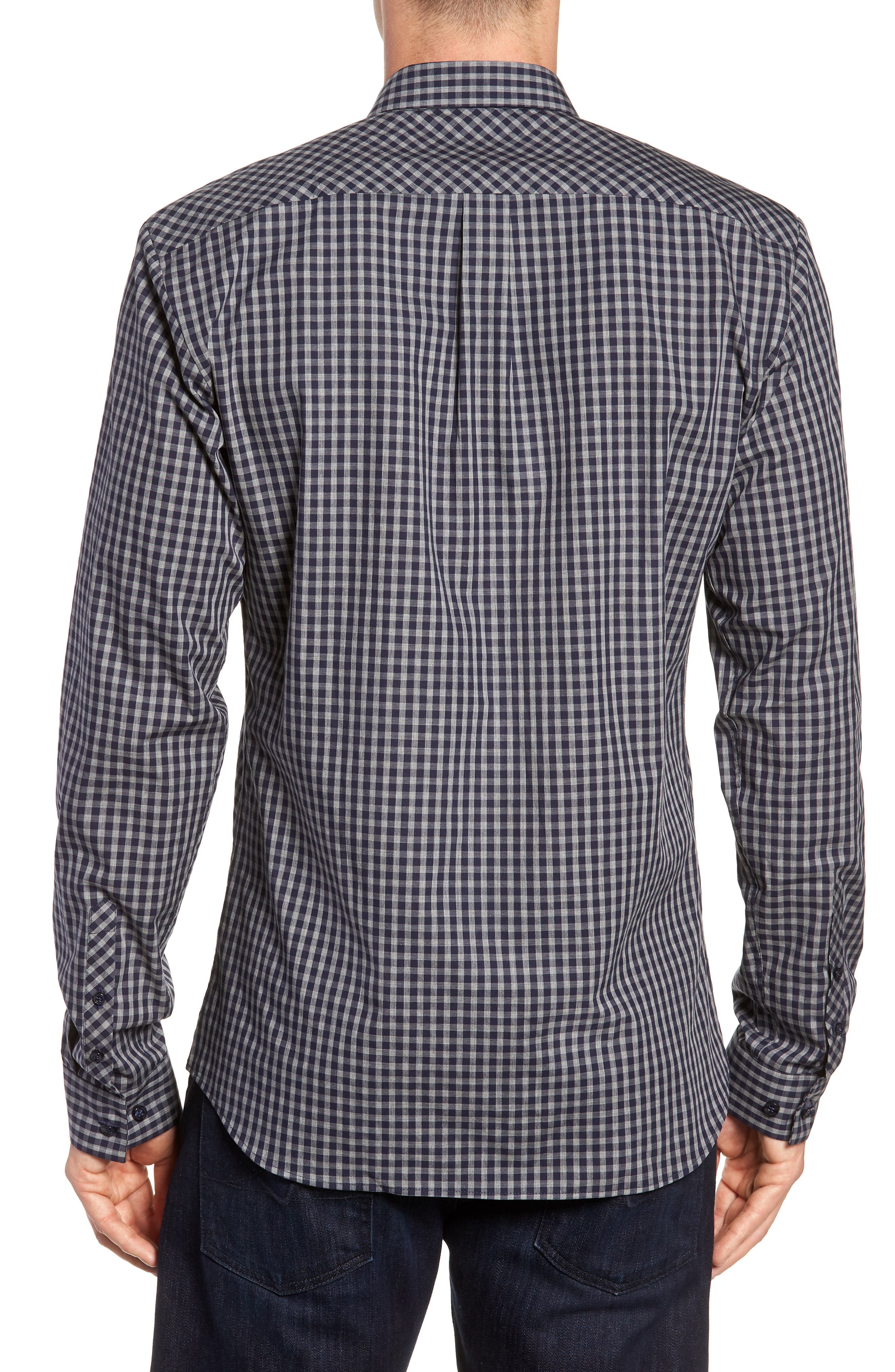 Trim Fit Sport Shirt,                             Alternate thumbnail 3, color,                             Navy Grey Check