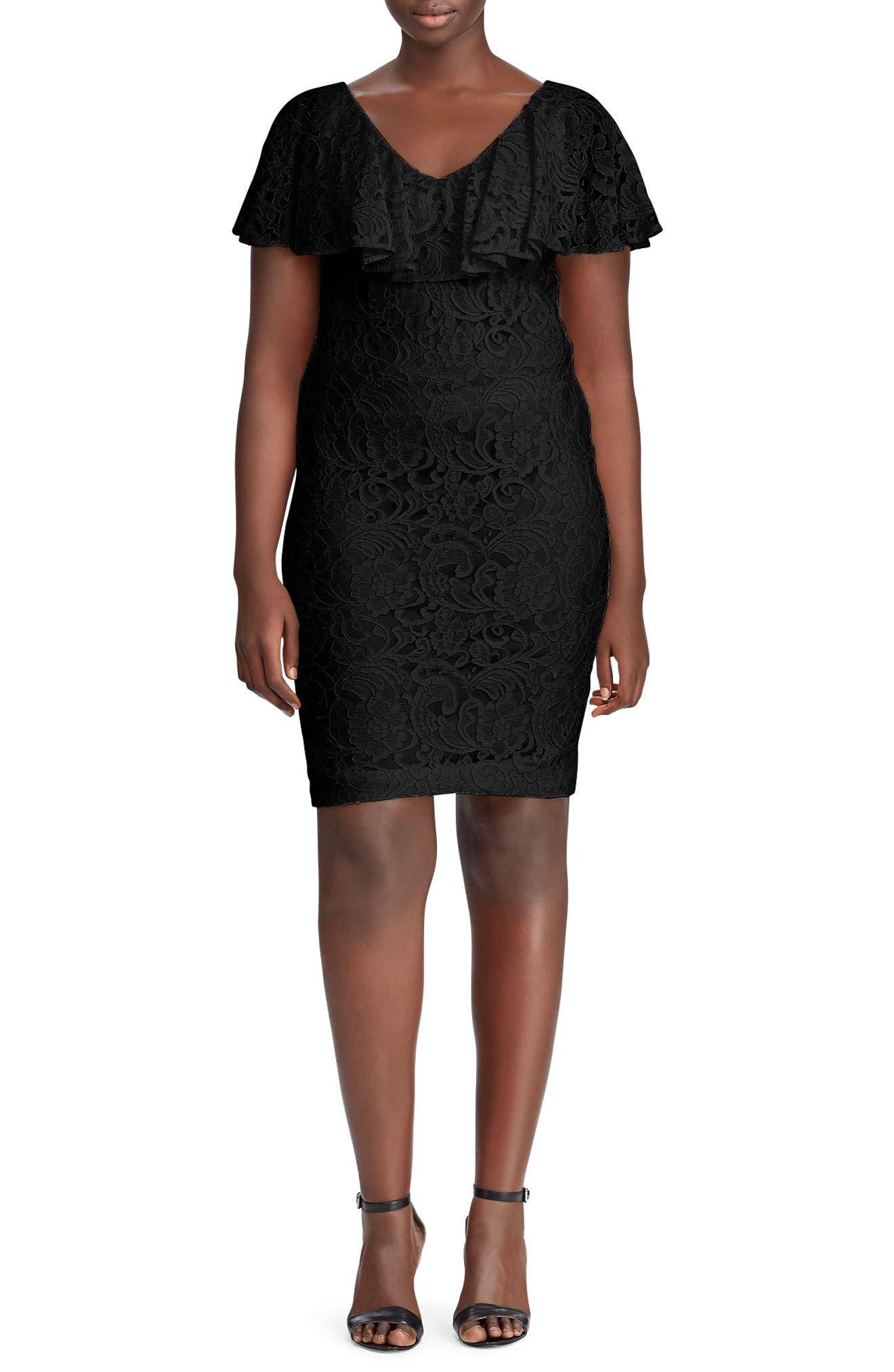 Lauren Ralph Lauren Tamalira Floral Lace Dress (Plus Size)