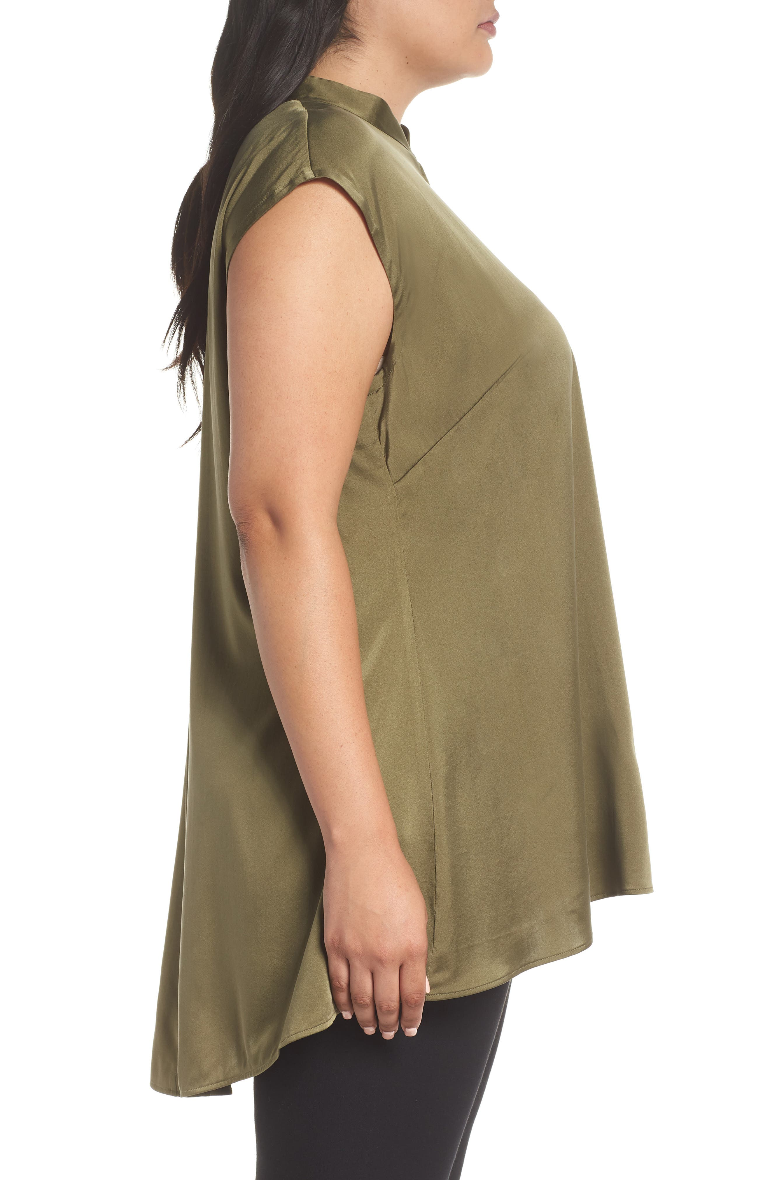 Stretch Silk Top,                             Alternate thumbnail 5, color,                             Olive