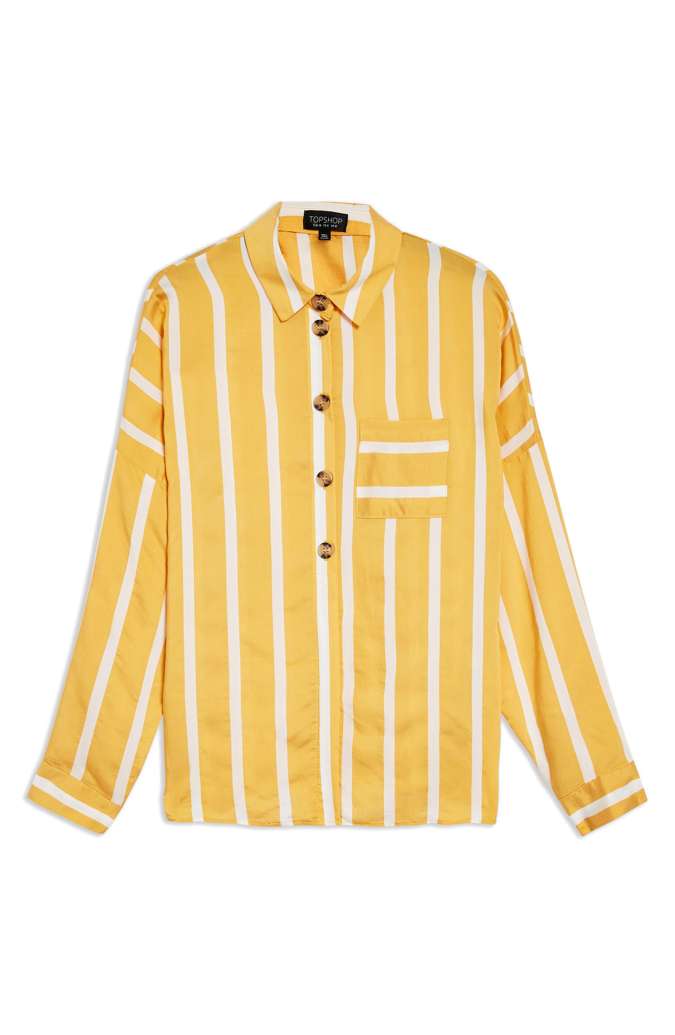 Wide Stripe Shirt,                             Alternate thumbnail 4, color,                             Yellow Multi