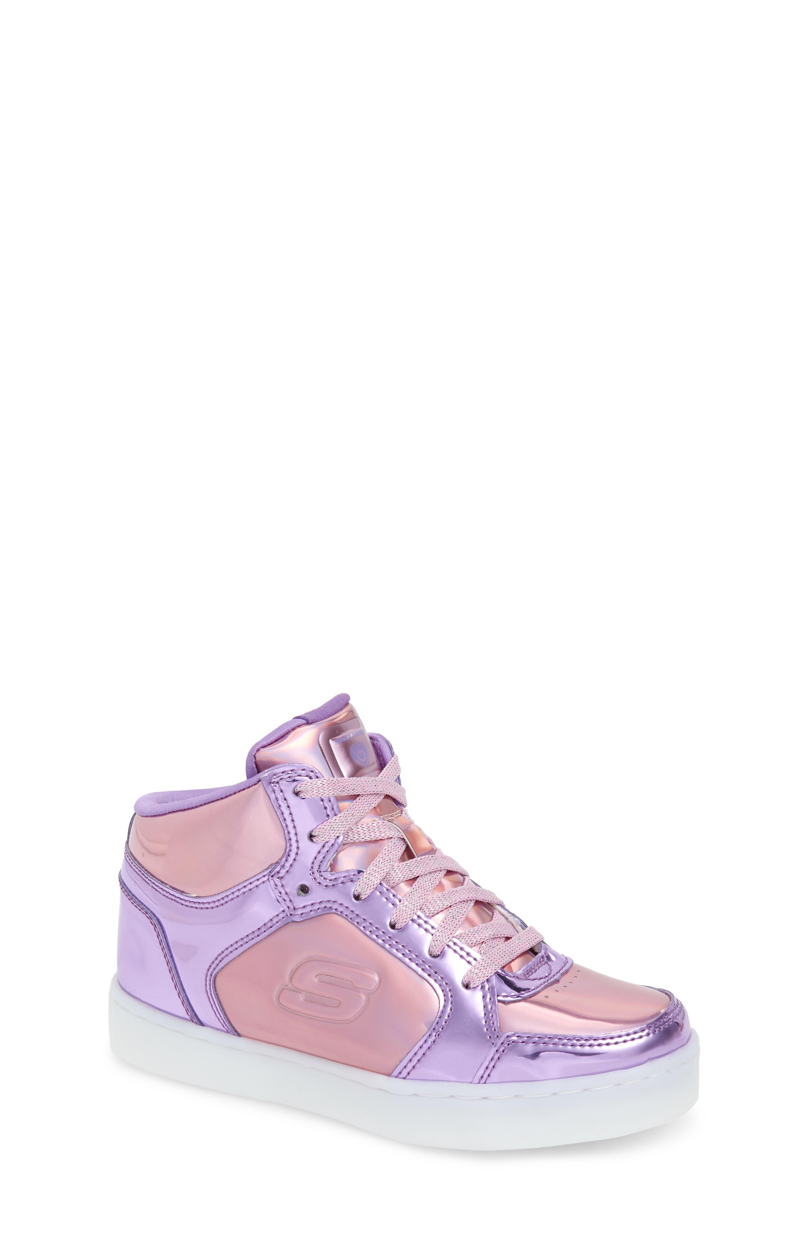 Energy Lights Metallic High Top Sneaker,                             Alternate thumbnail 7, color,                             Pink/ Purple