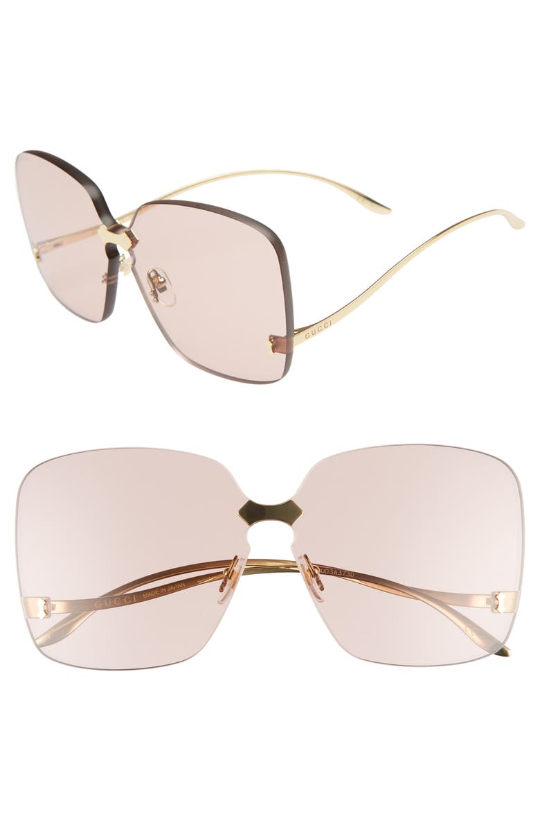 3827c7e9727 Gucci Rimless Square Low-Temple Polarized Sunglasses In Gold ...