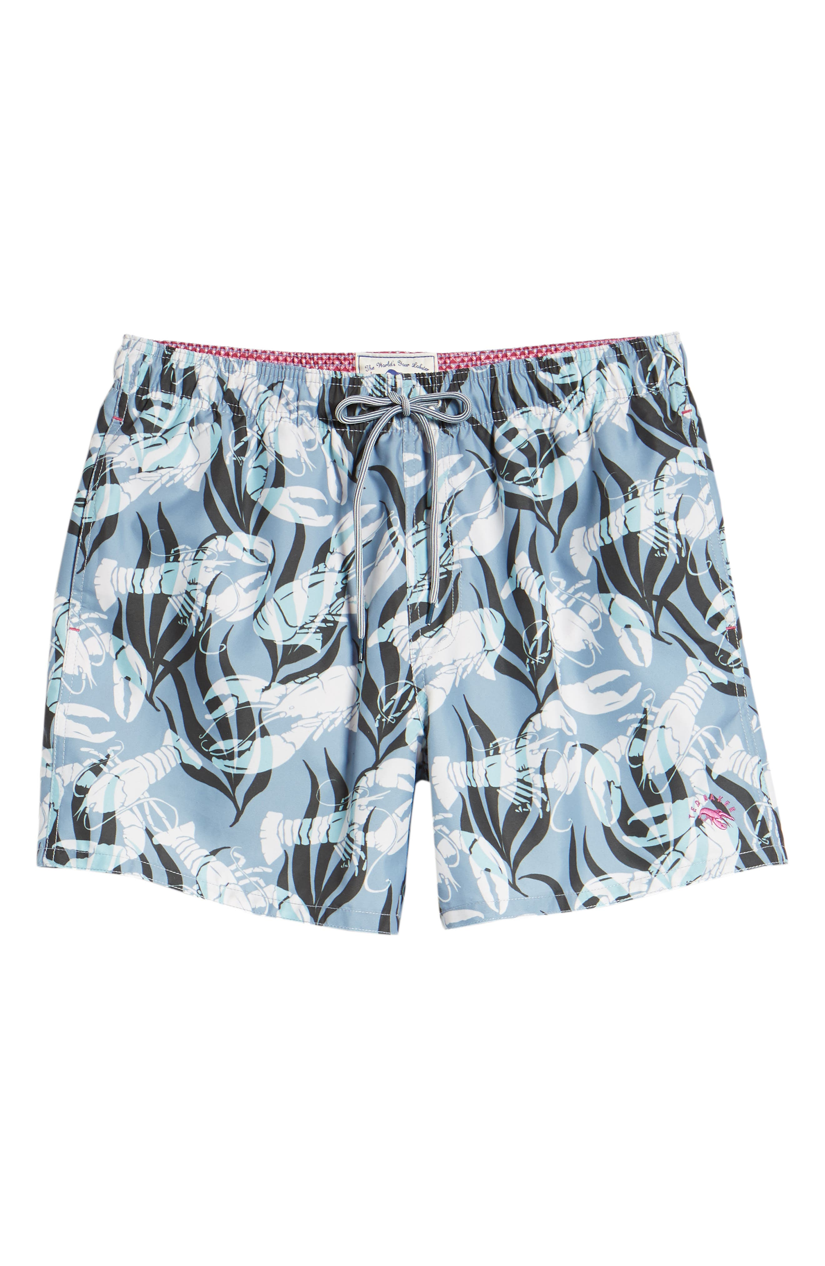 Yalow Slim Fit Lobster Swim Trunks,                             Alternate thumbnail 5, color,                             Blue