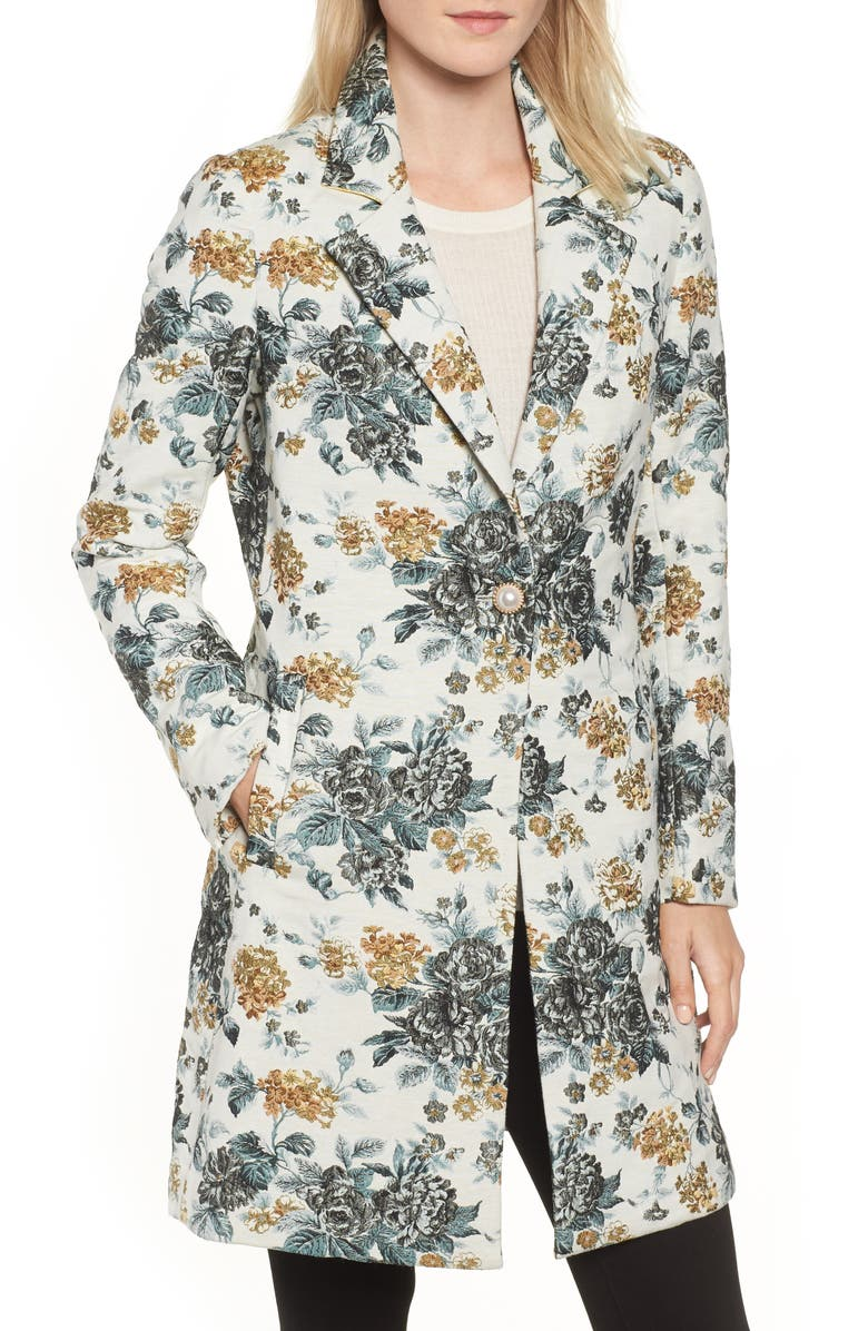 Single Button Brocade Coat