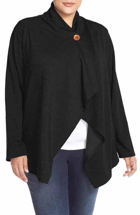 084e8364d0 Bobeau One-Button Fleece Cardigan (Plus Size)