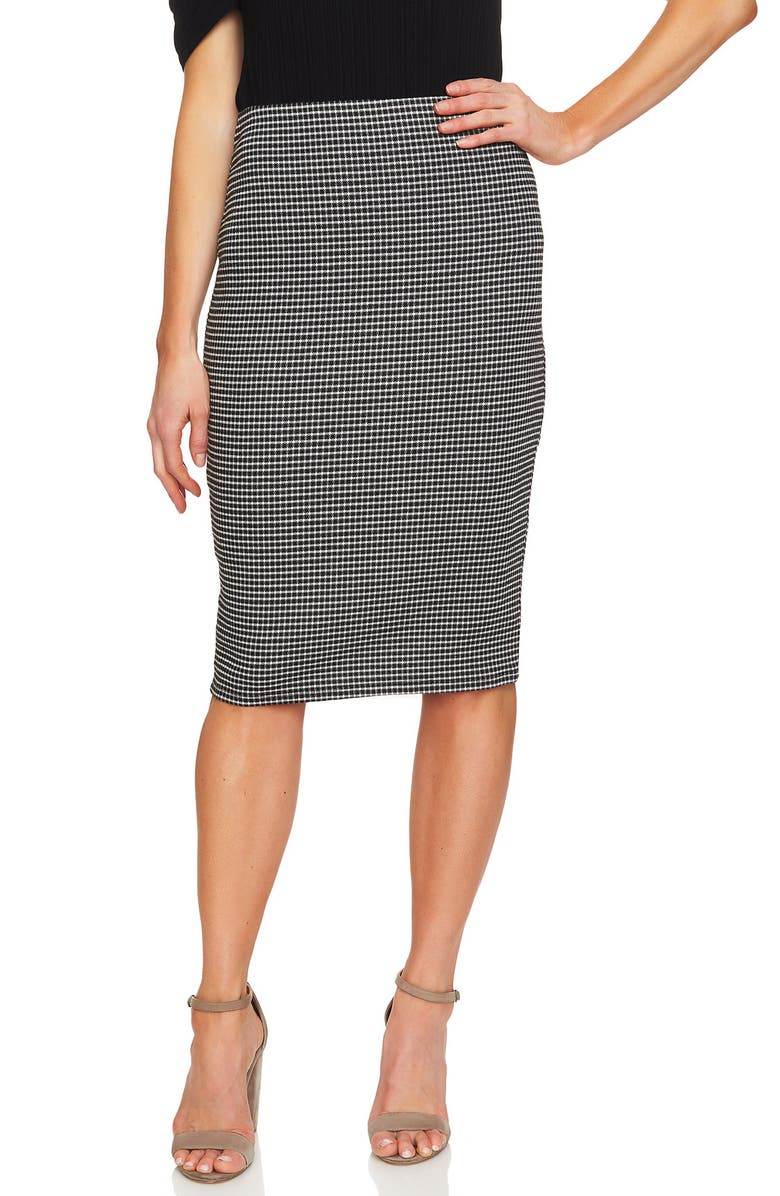 Check Knit Pencil Skirt