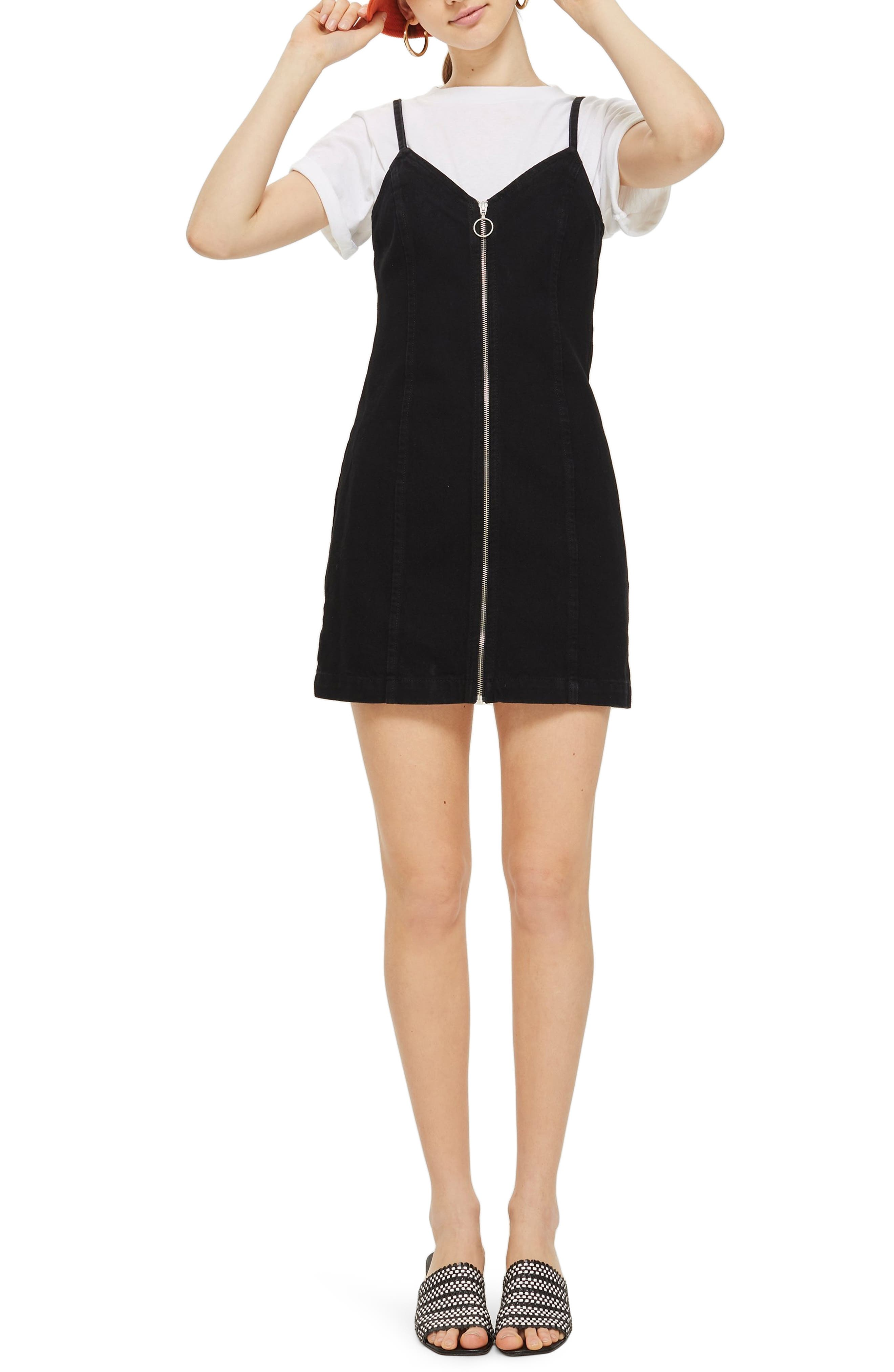 Zip Through Denim Body-Con Dress,                         Main,                         color, Black