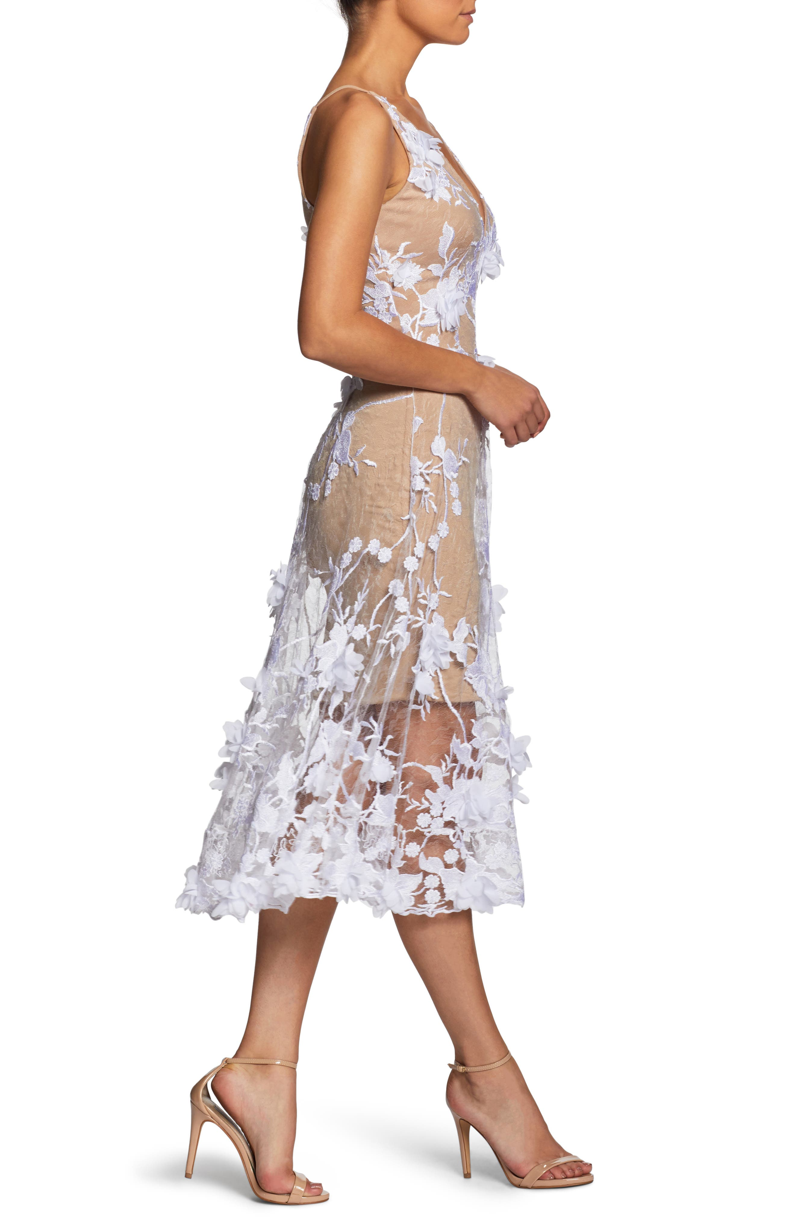 Audrey Embroidered Fit & Flare Dress,                             Alternate thumbnail 3, color,                             Off White/ Nude