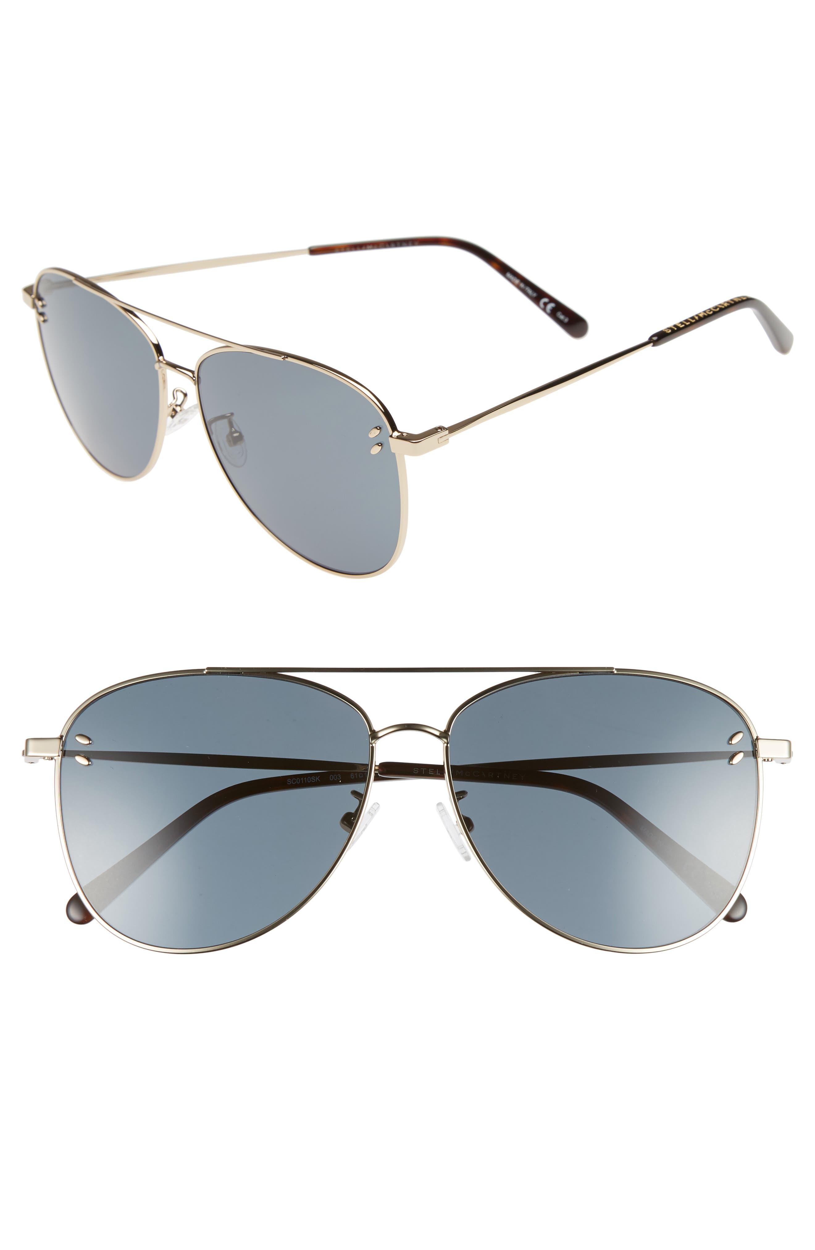 61mm Aviator Sunglasses,                             Main thumbnail 1, color,                             Gold