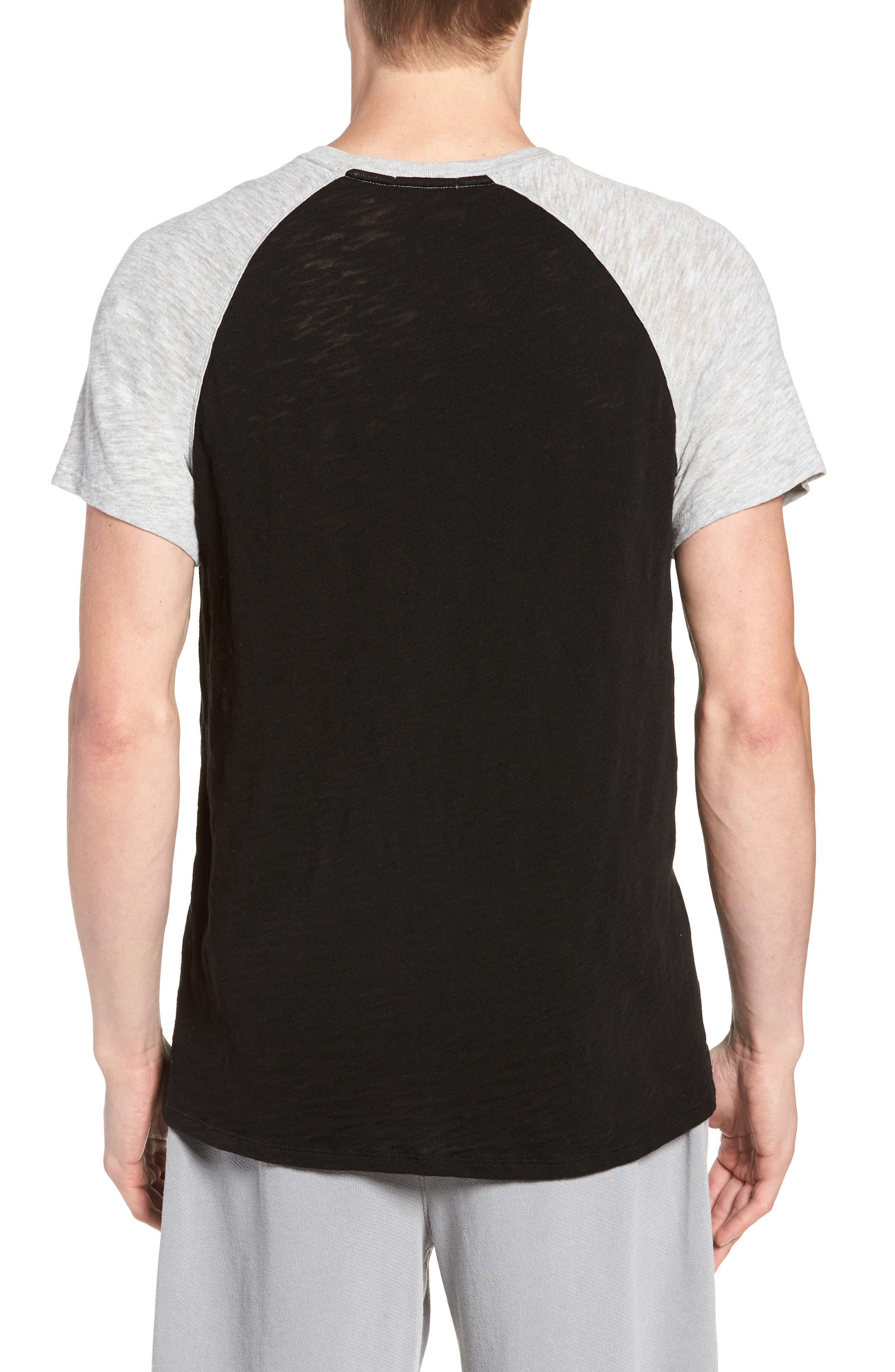 Slub Jersey Baseball T-Shirt,                             Alternate thumbnail 2, color,                             Black/ Heather Grey Combo
