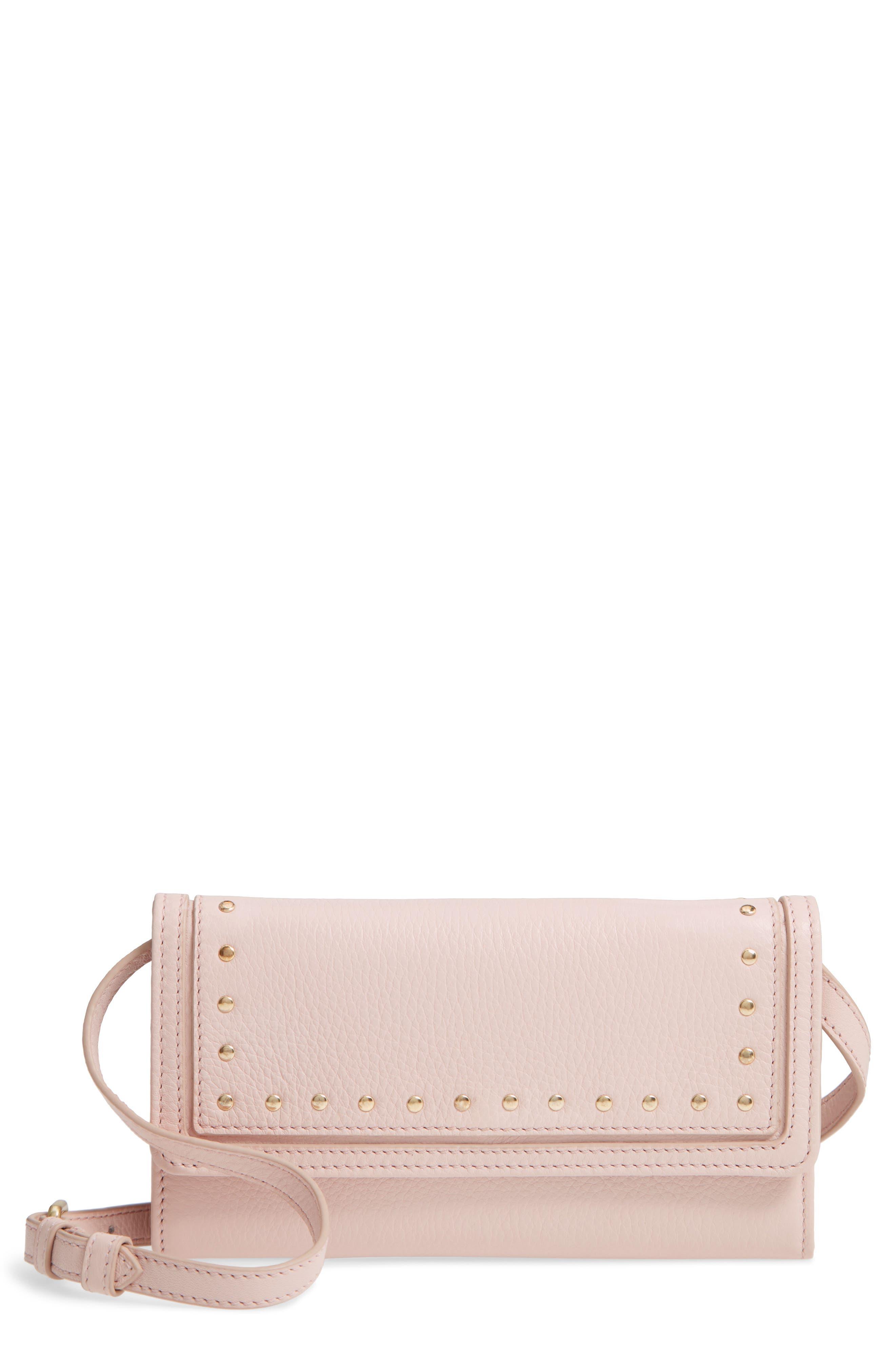 Cassidy Leather RFID Crossbody Wallet,                         Main,                         color, Peach Blush