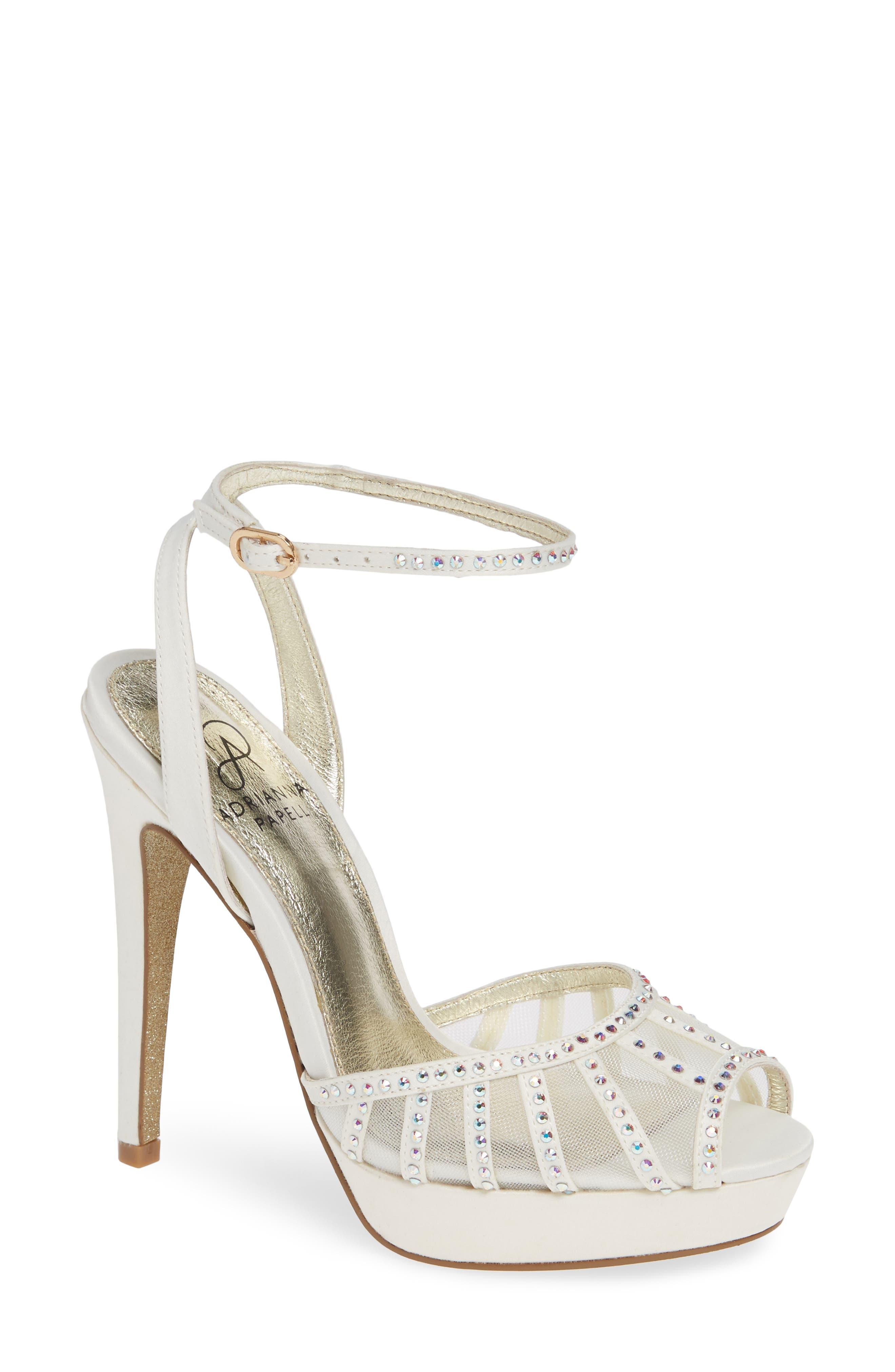 Simone Crystal Embellished Platform Sandal,                             Main thumbnail 1, color,                             Ivory