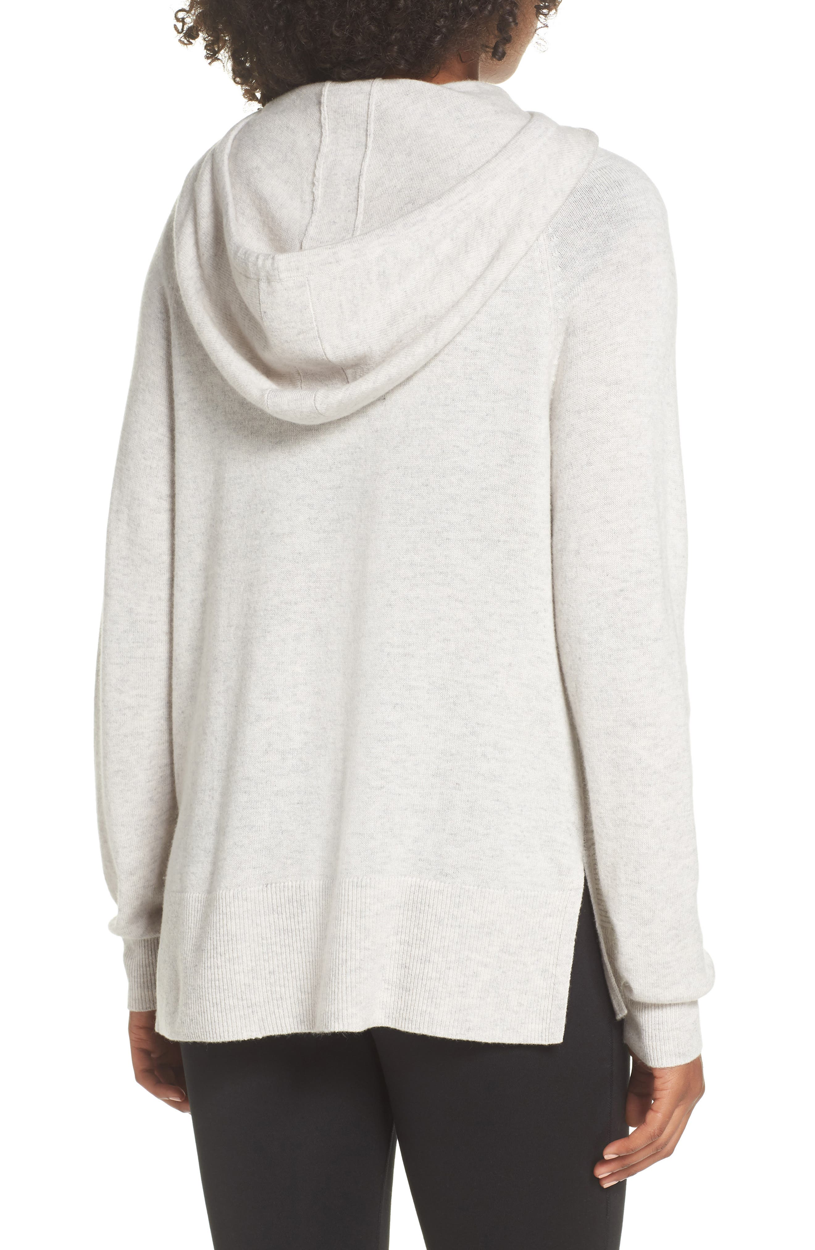 Cashmere and Wool Hoodie,                             Alternate thumbnail 2, color,                             Grey Chime Heather