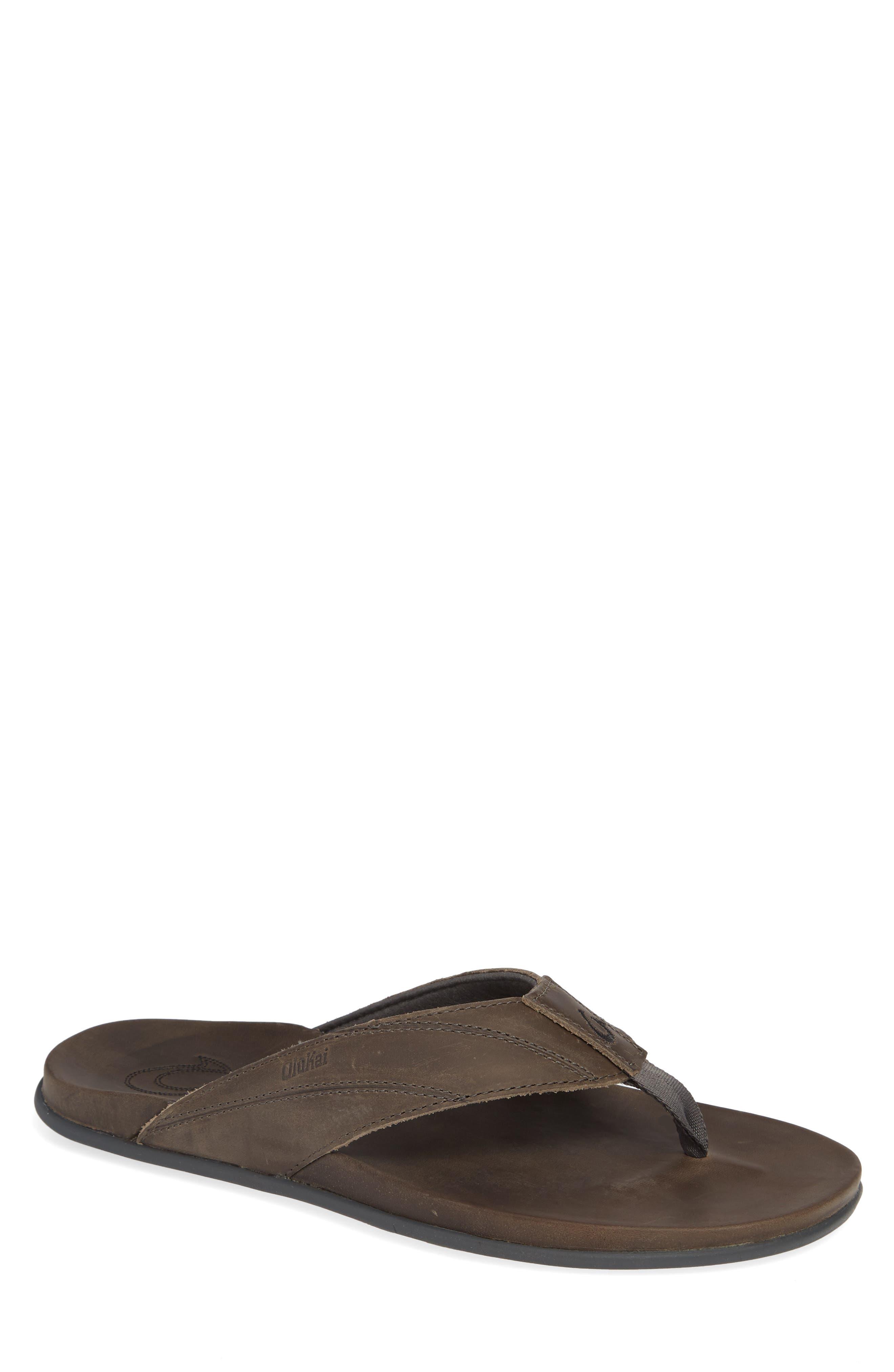 Pikoi Flip Flop,                         Main,                         color, Storm Grey/ Storm Grey Leather