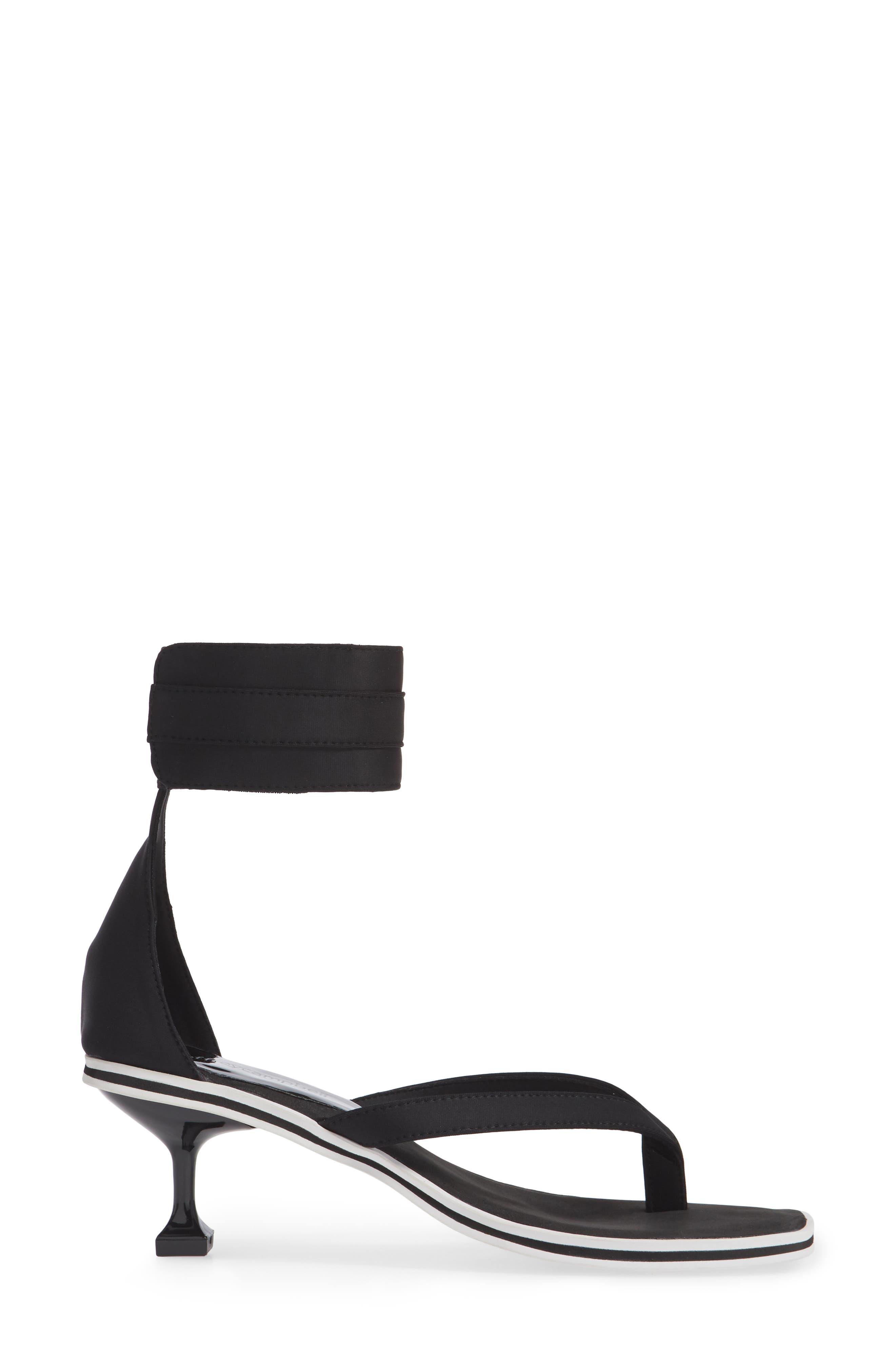 Dribble Cuff Pedestal Sandal,                             Alternate thumbnail 5, color,                             Black Neoprene White Fabric