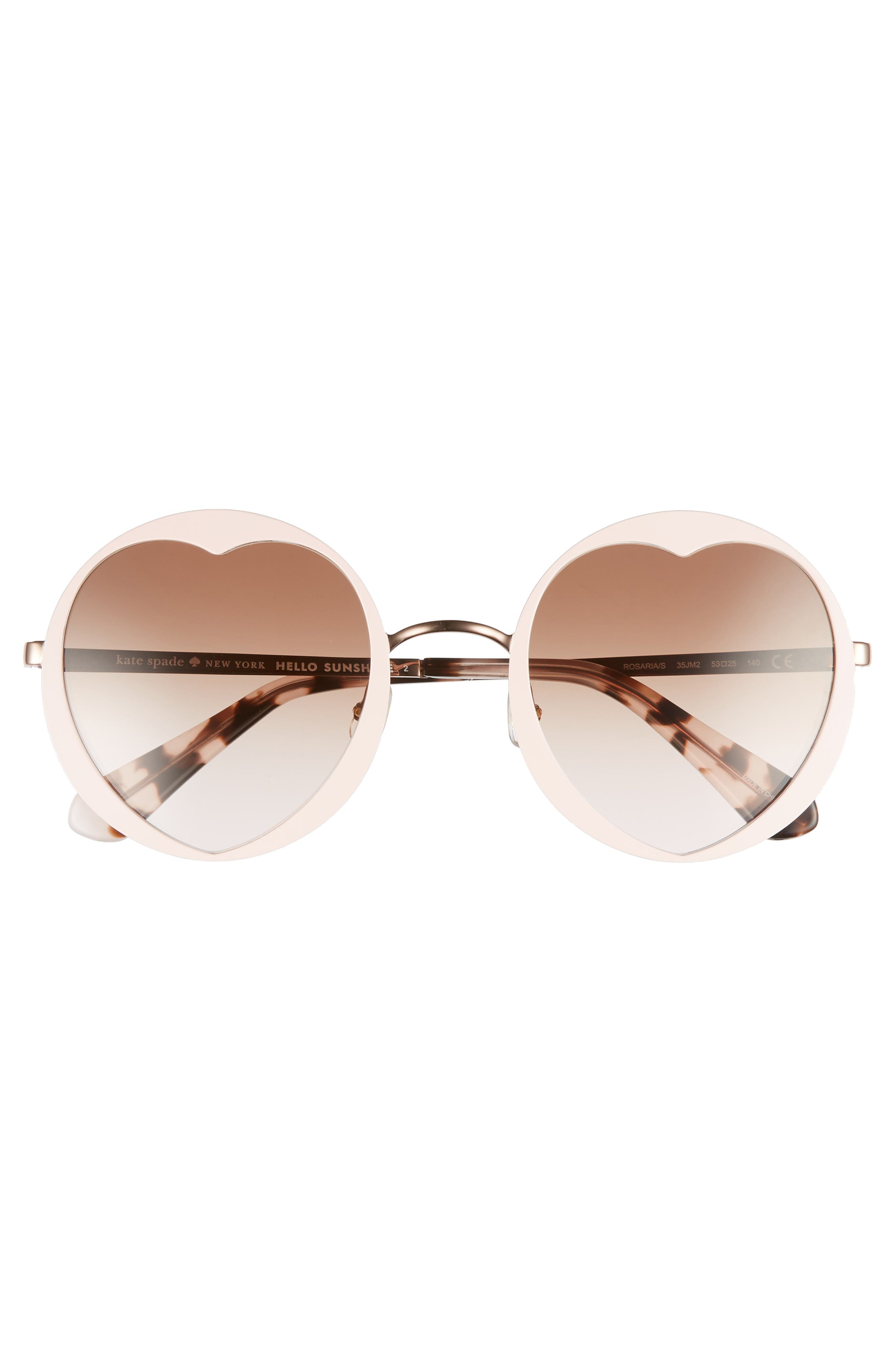 rosaria 53mm heart cutout lens sunglasses,                             Alternate thumbnail 3, color,                             Pink/ Havana