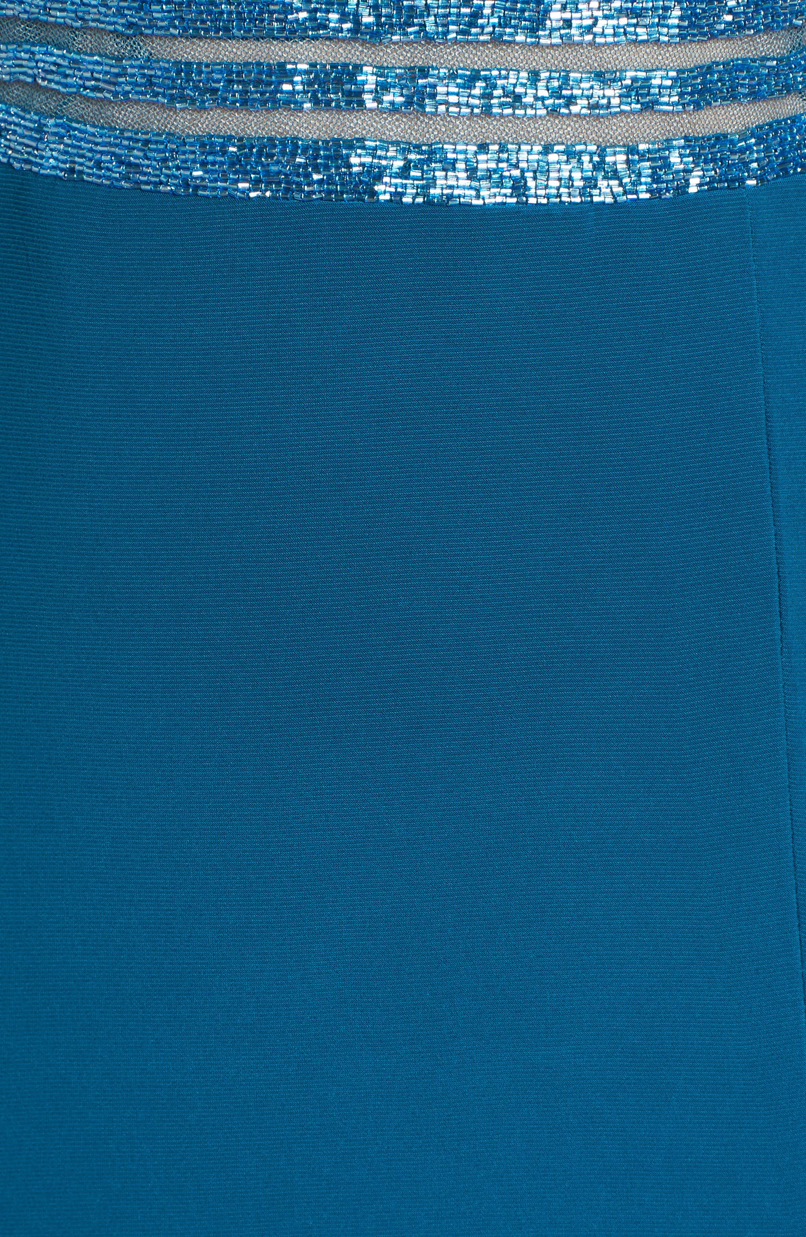 Beaded Mesh Halter Gown,                             Alternate thumbnail 5, color,                             Spruce