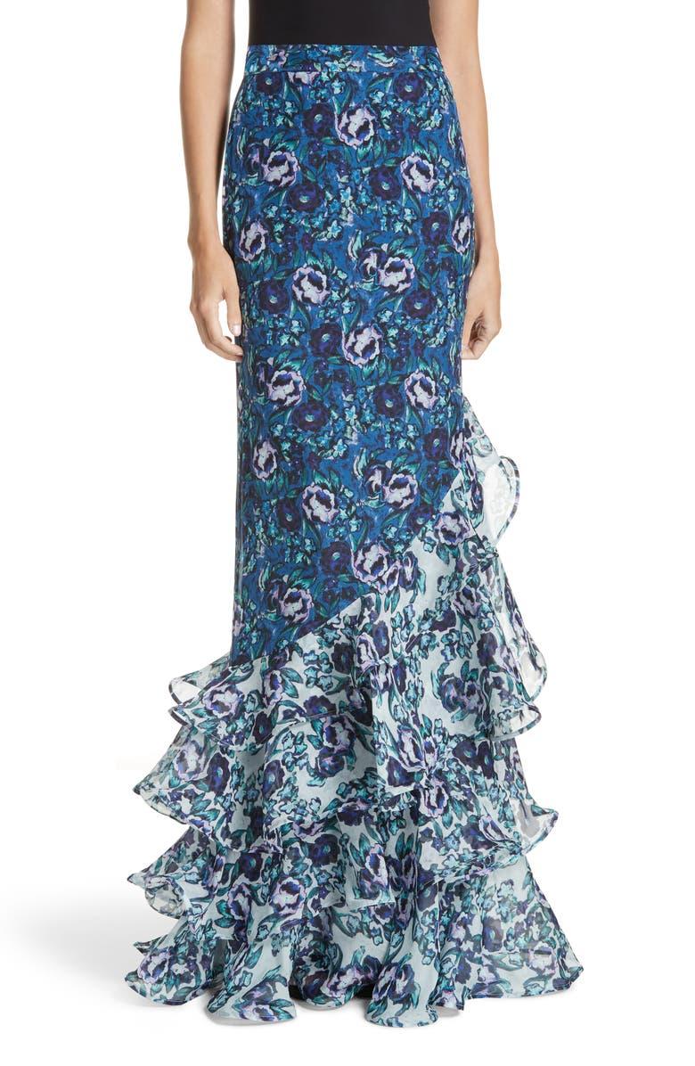 Ira Floral Print Silk Skirt