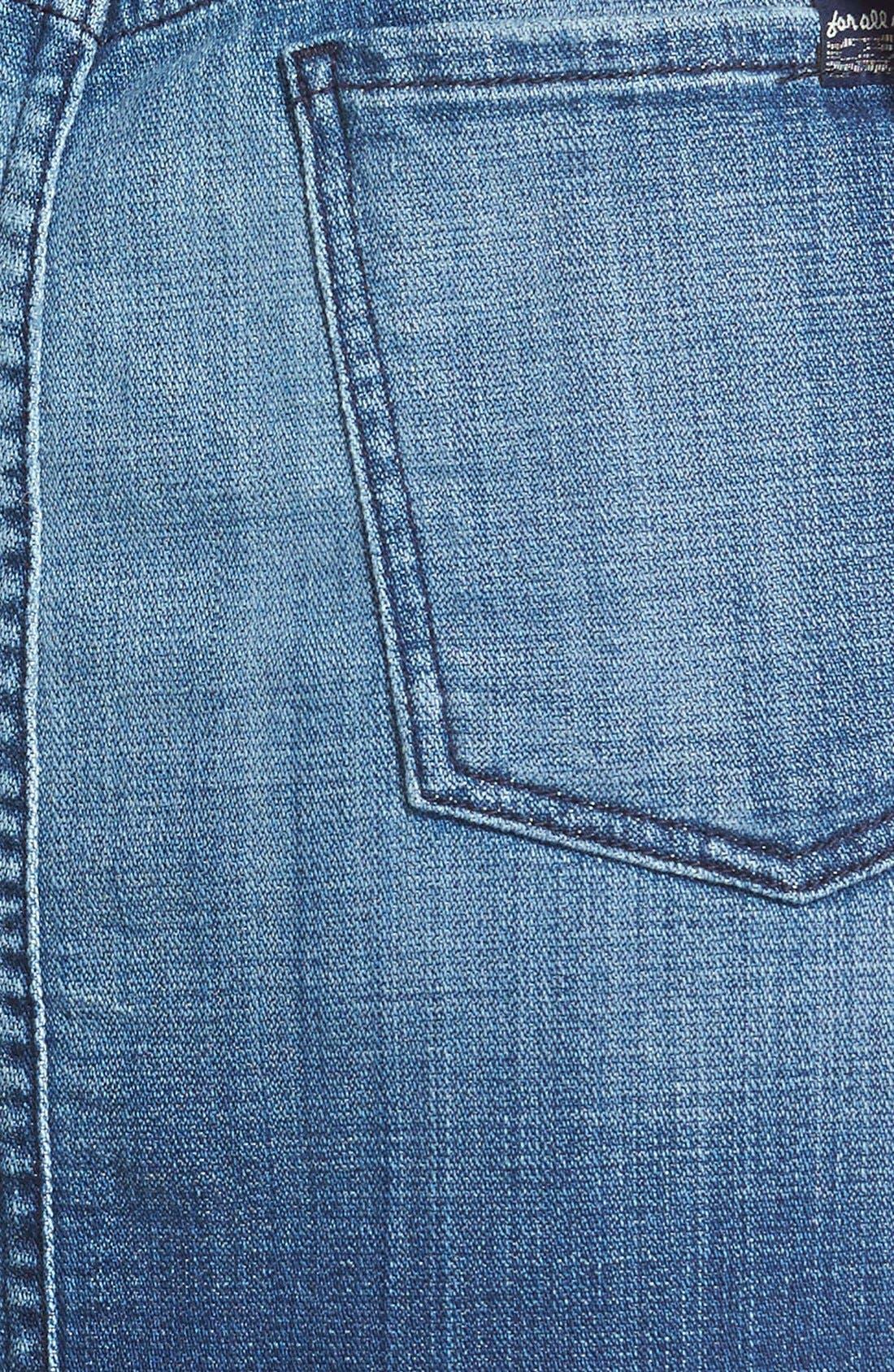 Denim Overall Skirt,                             Alternate thumbnail 3, color,                             Medium Broken Twill