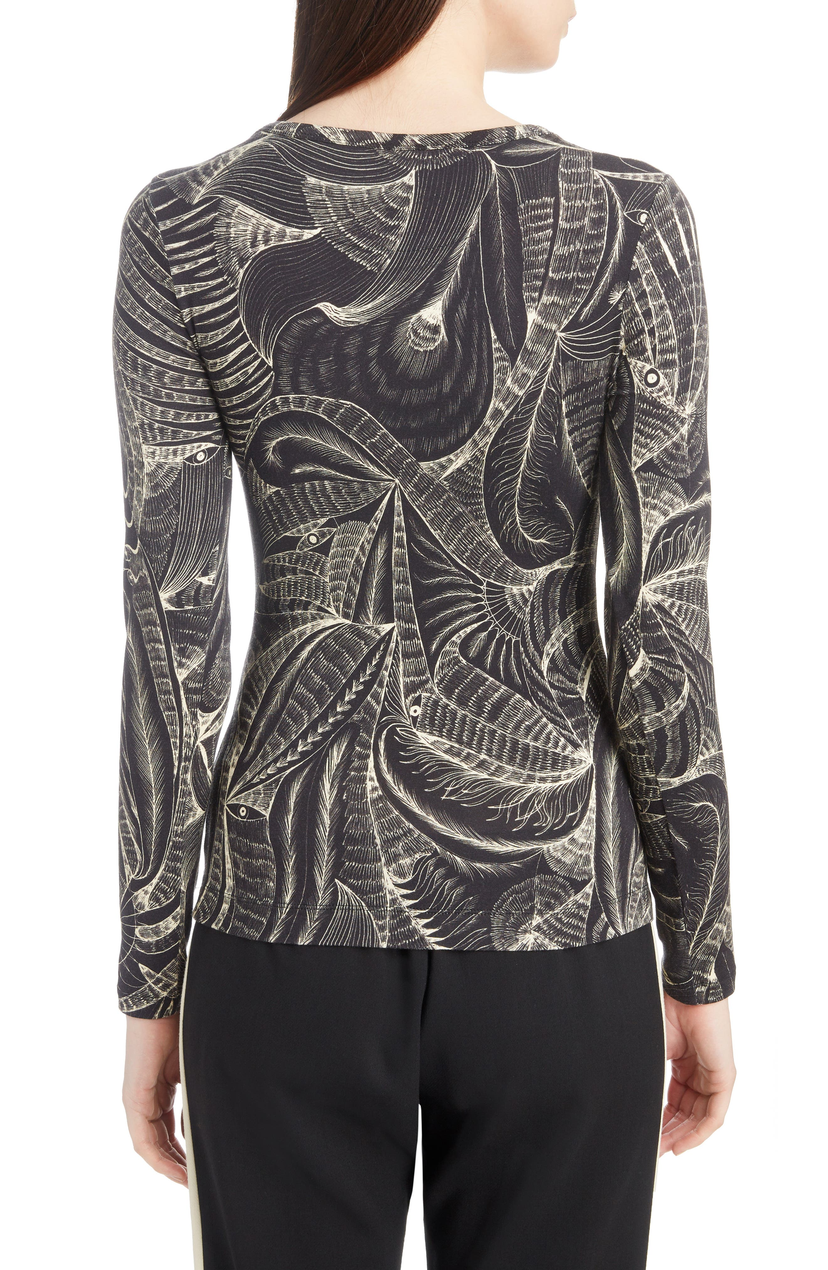 Tattoo Print Fitted Knit Top,                             Alternate thumbnail 2, color,                             Black