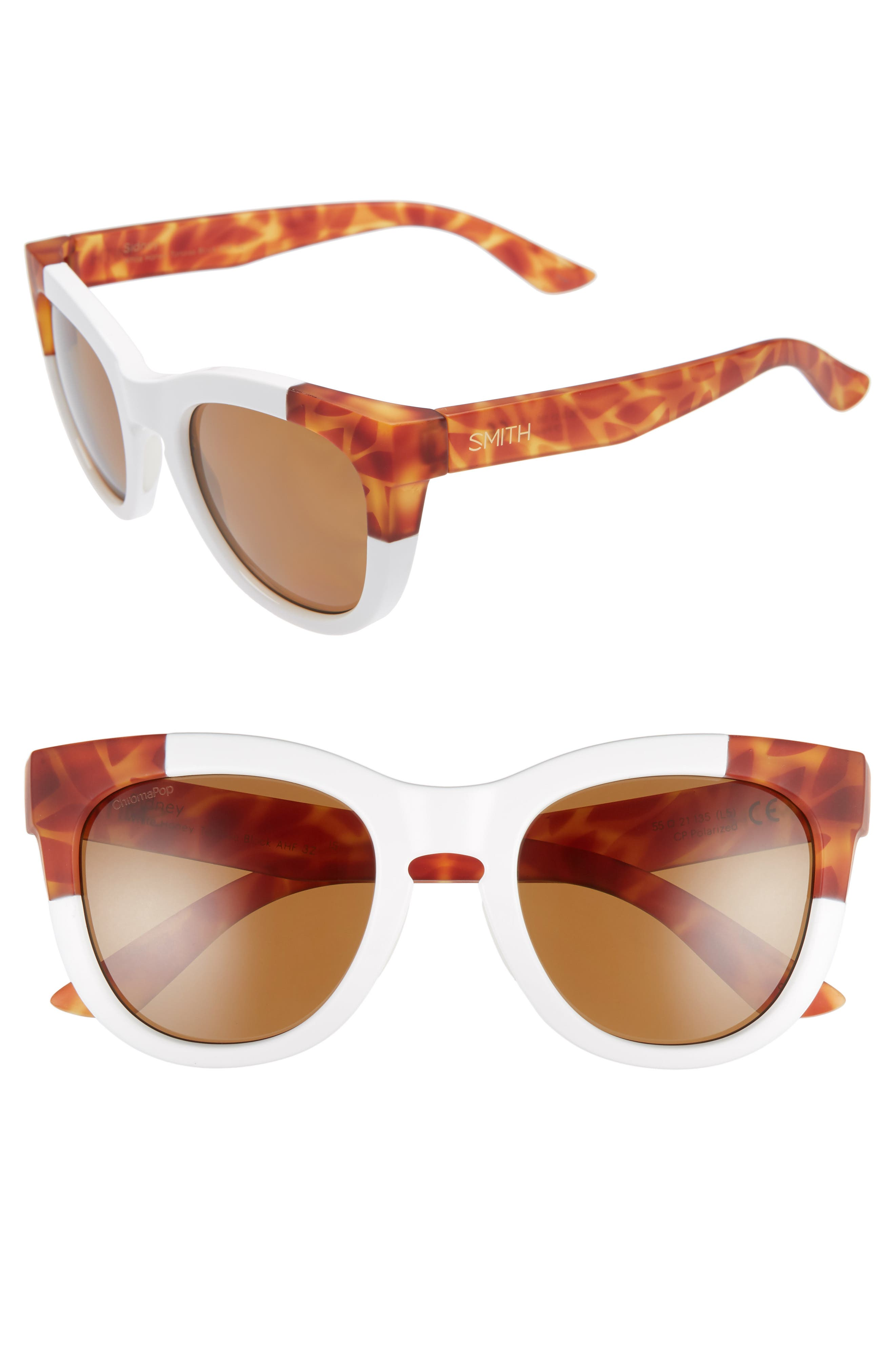 SMITH SIDNEY 55MM CHROMAPOP POLARIZED CAT EYE SUNGLASSES - WHITE/ HONEY TORTOISE