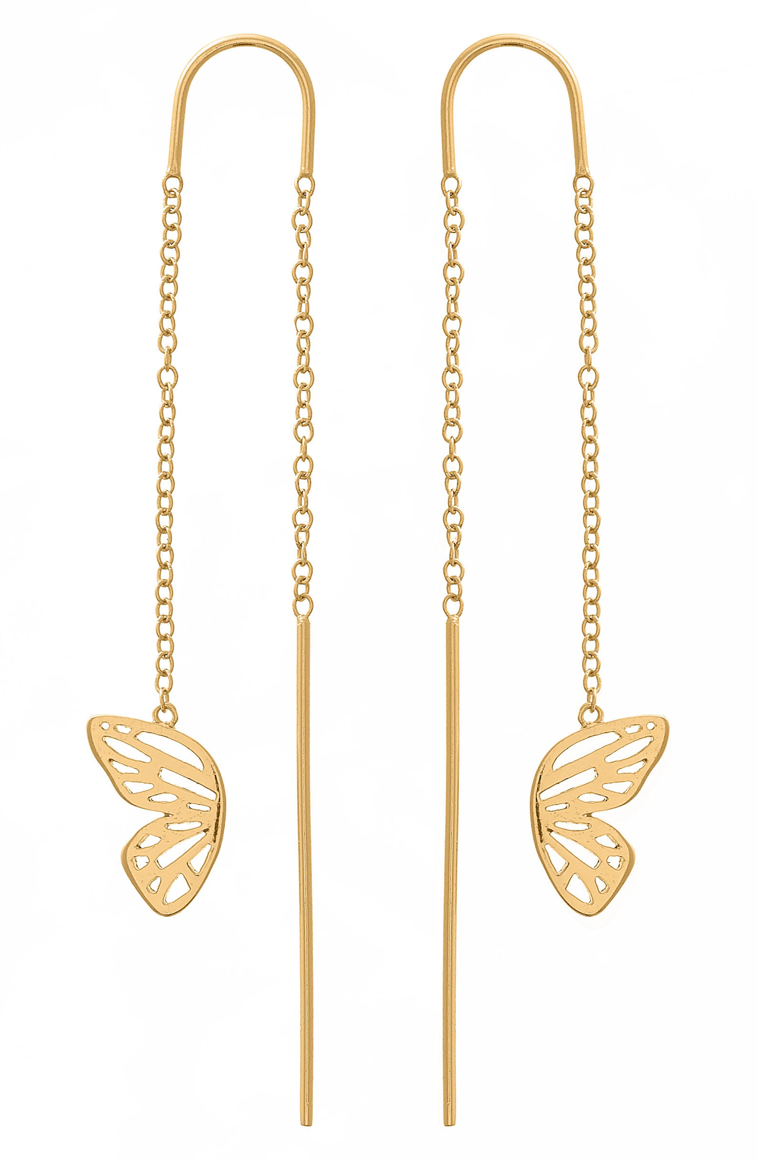 Butterfly Wing Threader Earrings,                             Main thumbnail 1, color,                             Gold