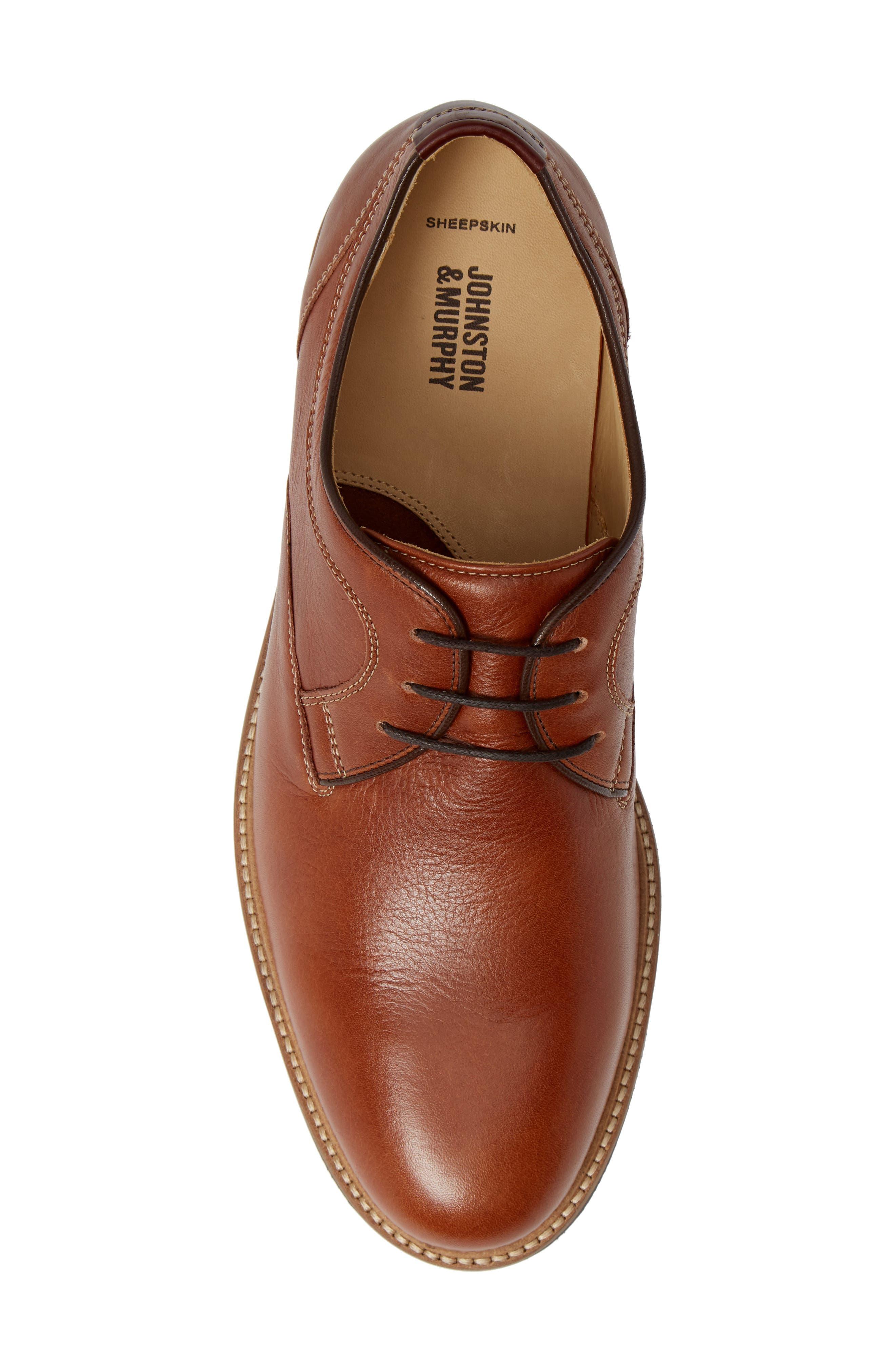 Barlow Plain Toe Derby,                             Alternate thumbnail 5, color,                             Dark Tan Leather