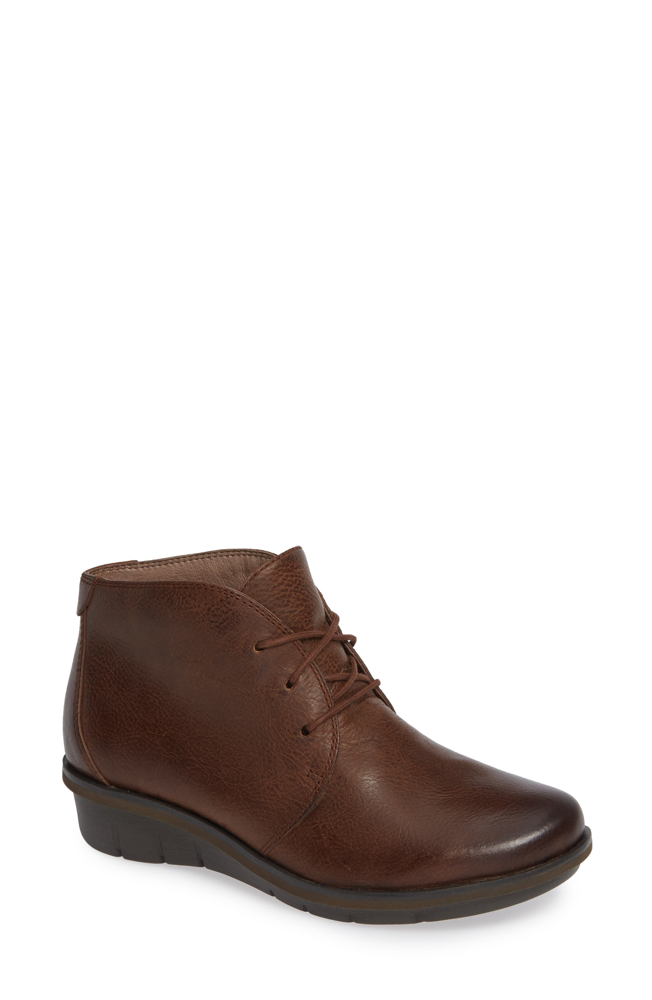 Joy Bootie,                             Main thumbnail 1, color,                             Brown Burnished Nubuck Leather
