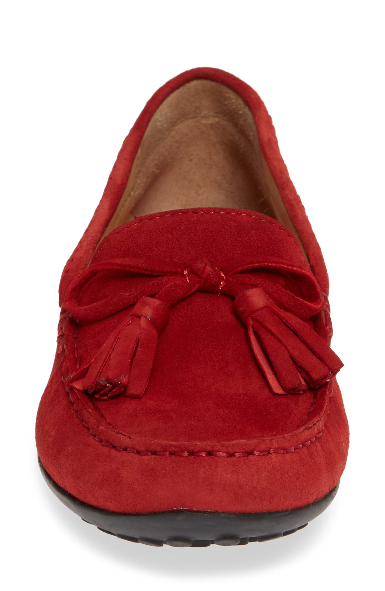 Acajou Driving Moccasin,                             Alternate thumbnail 5, color,                             Red Suede
