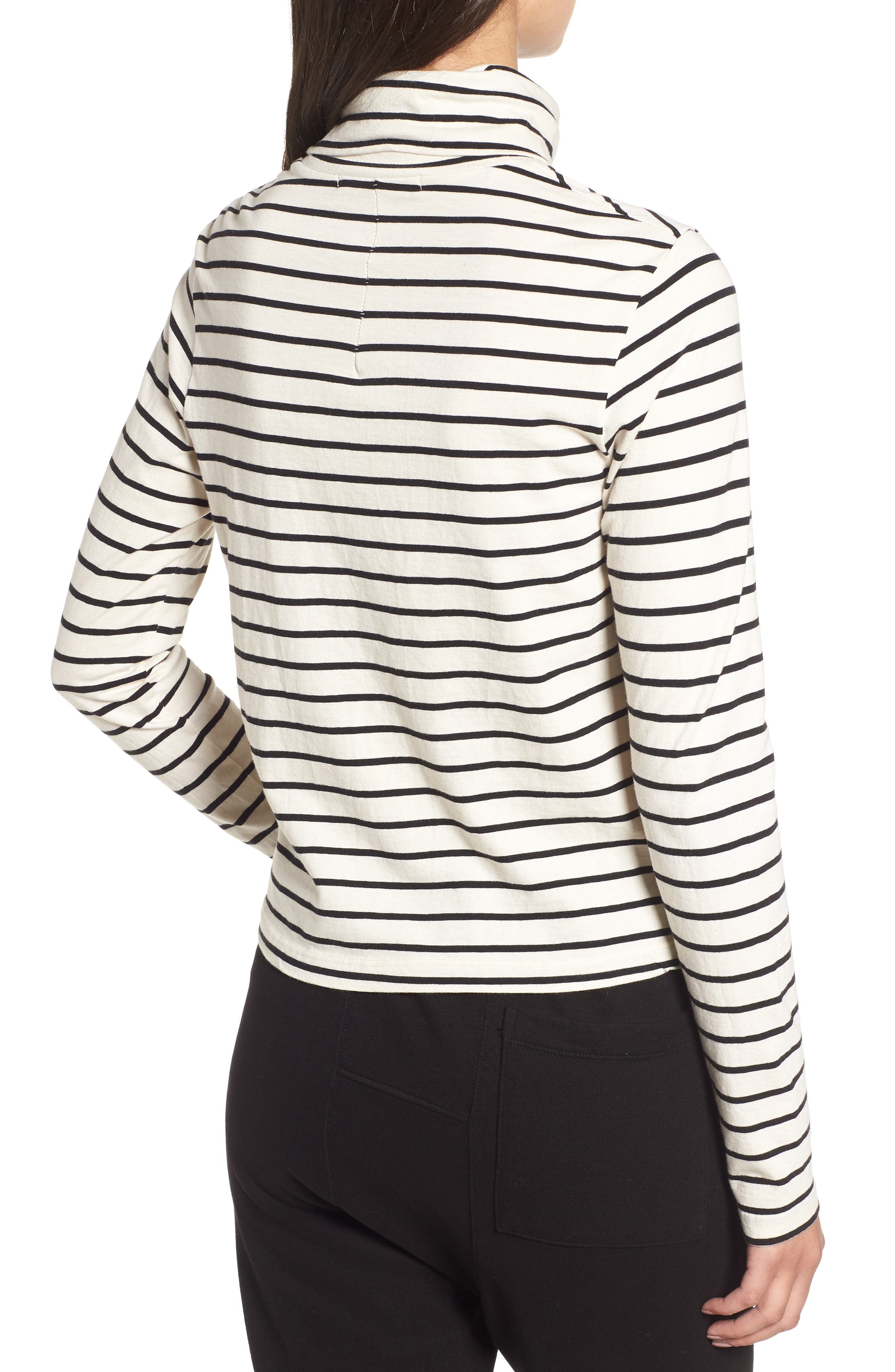 Stripe Mock Neck Sweater,                             Alternate thumbnail 2, color,                             Black/ Cream