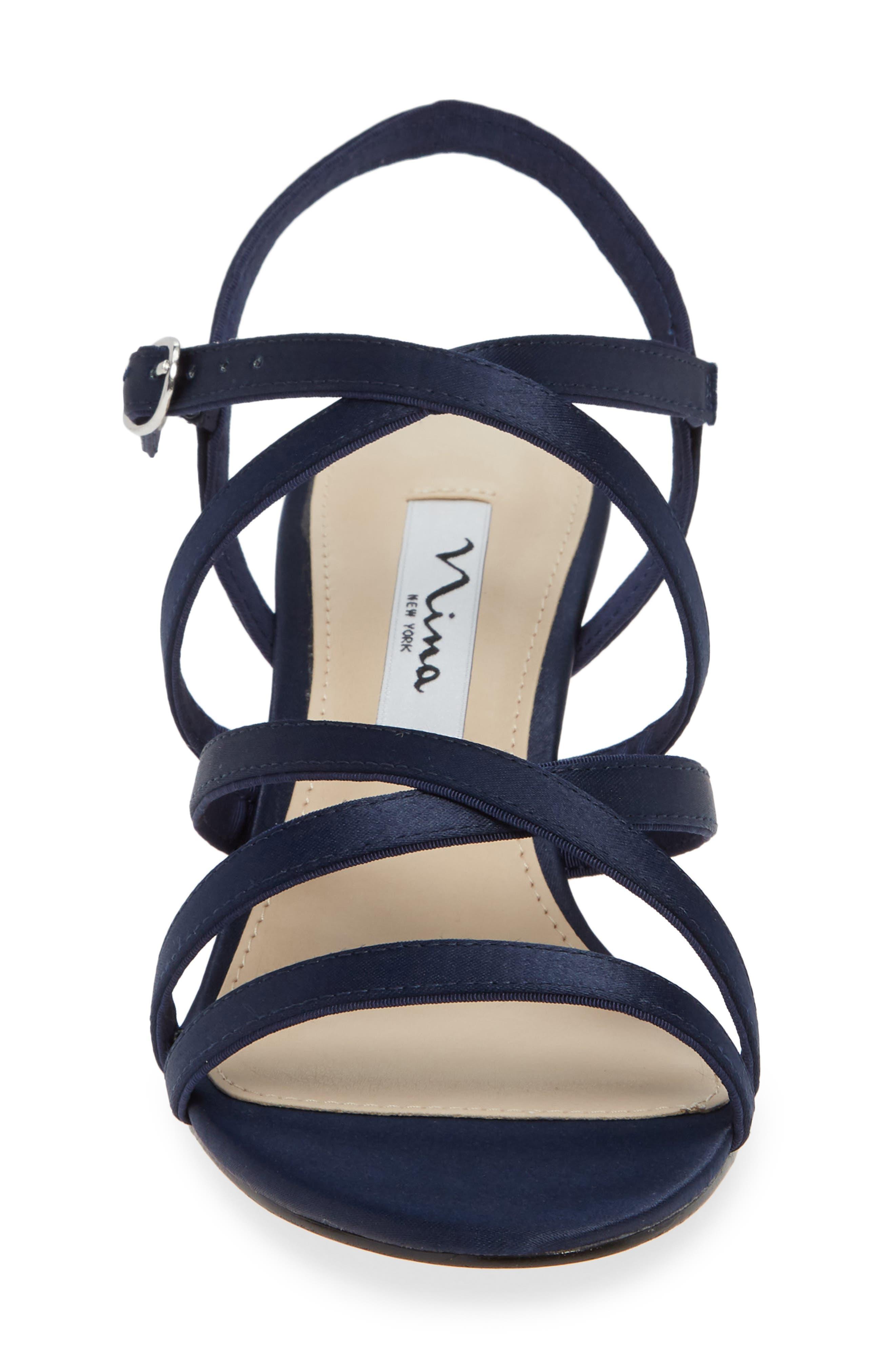 Genaya Strappy Evening Sandal,                             Alternate thumbnail 6, color,                             Navy Satin