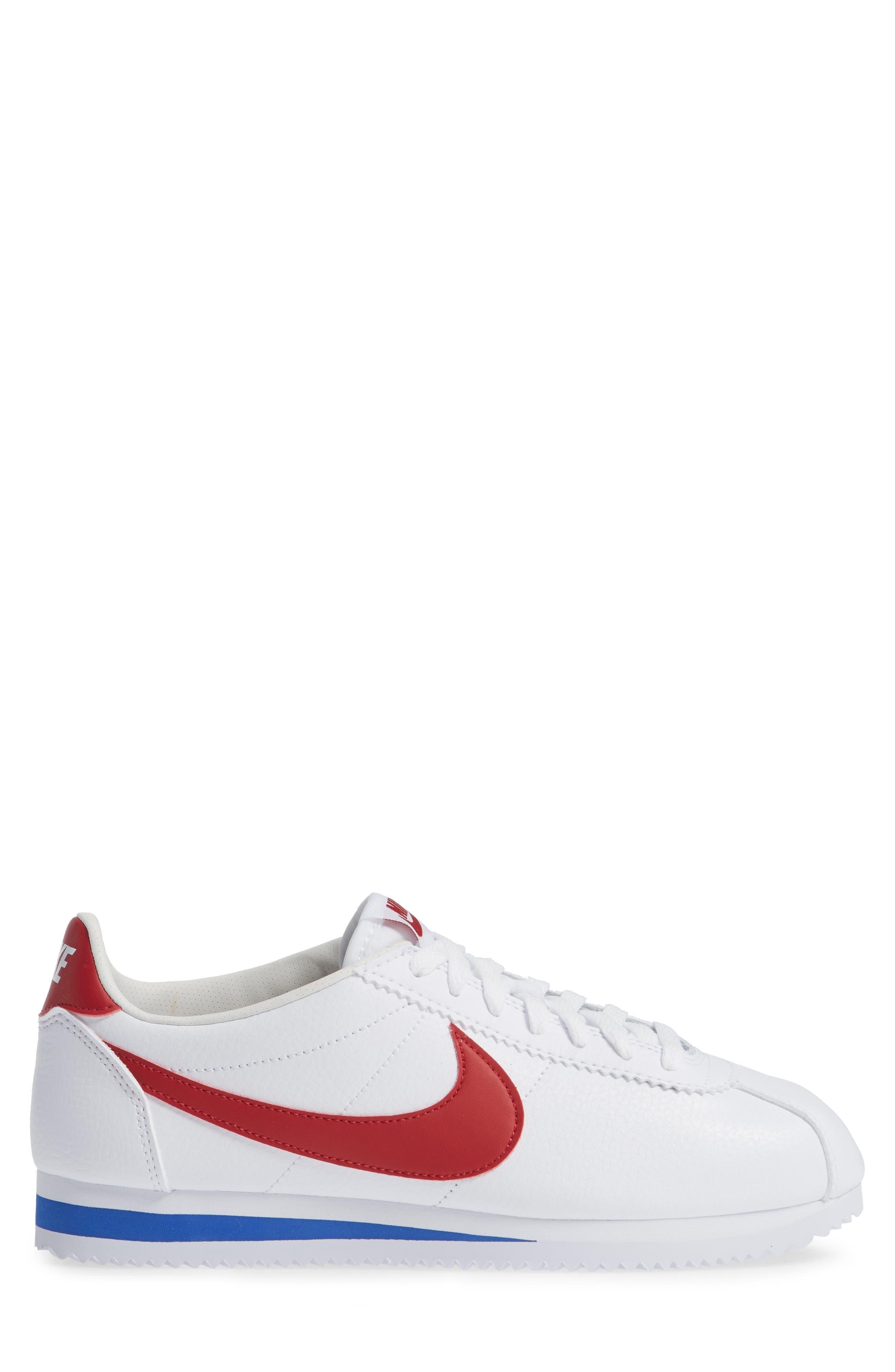 Classic Cortez Sneaker,                             Alternate thumbnail 4, color,                             White/ Varsity Red/ Royal