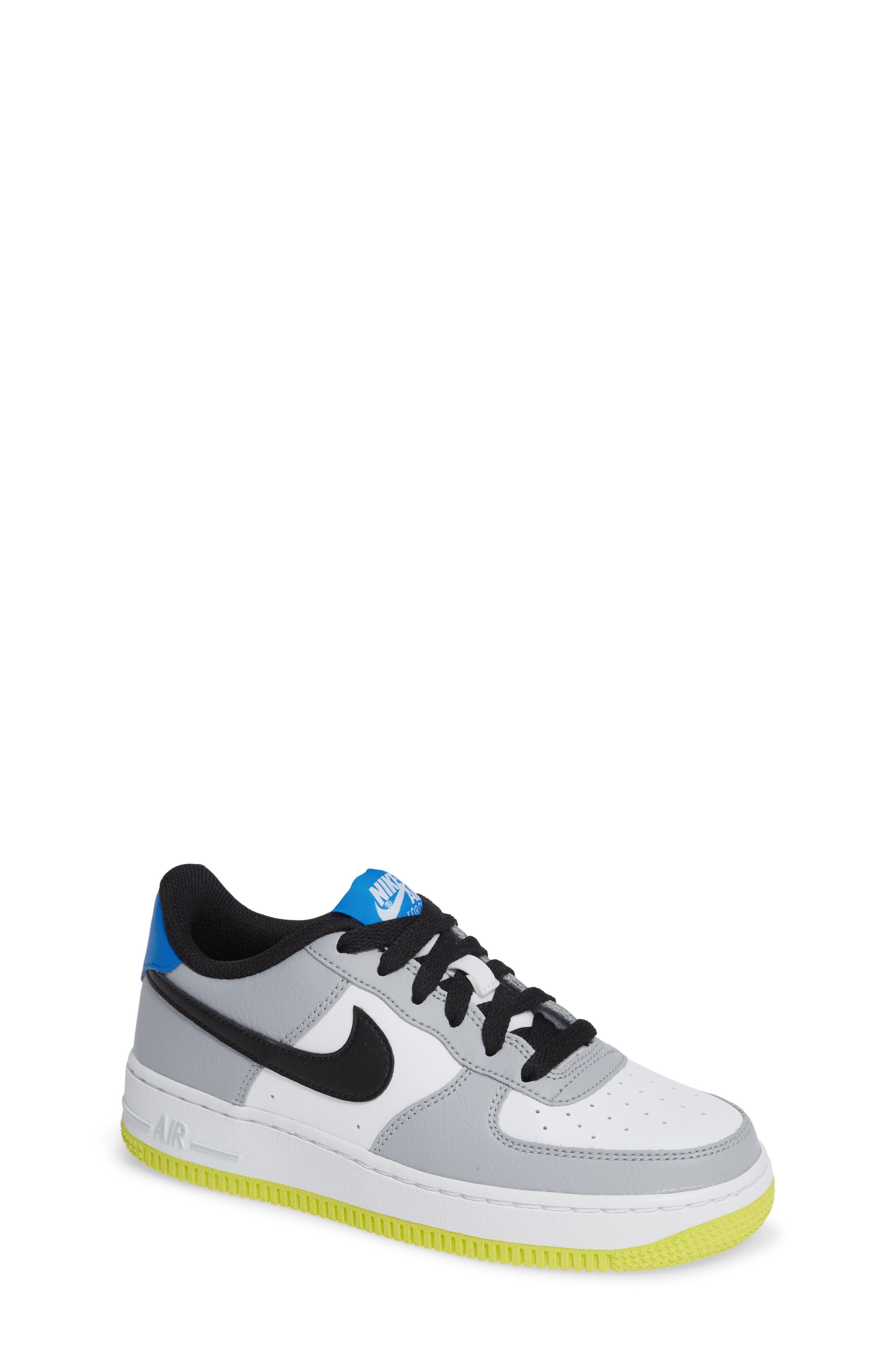 Air Force 1 Sneaker,                         Main,                         color, Wolf Grey/ Black/ White/ Blue