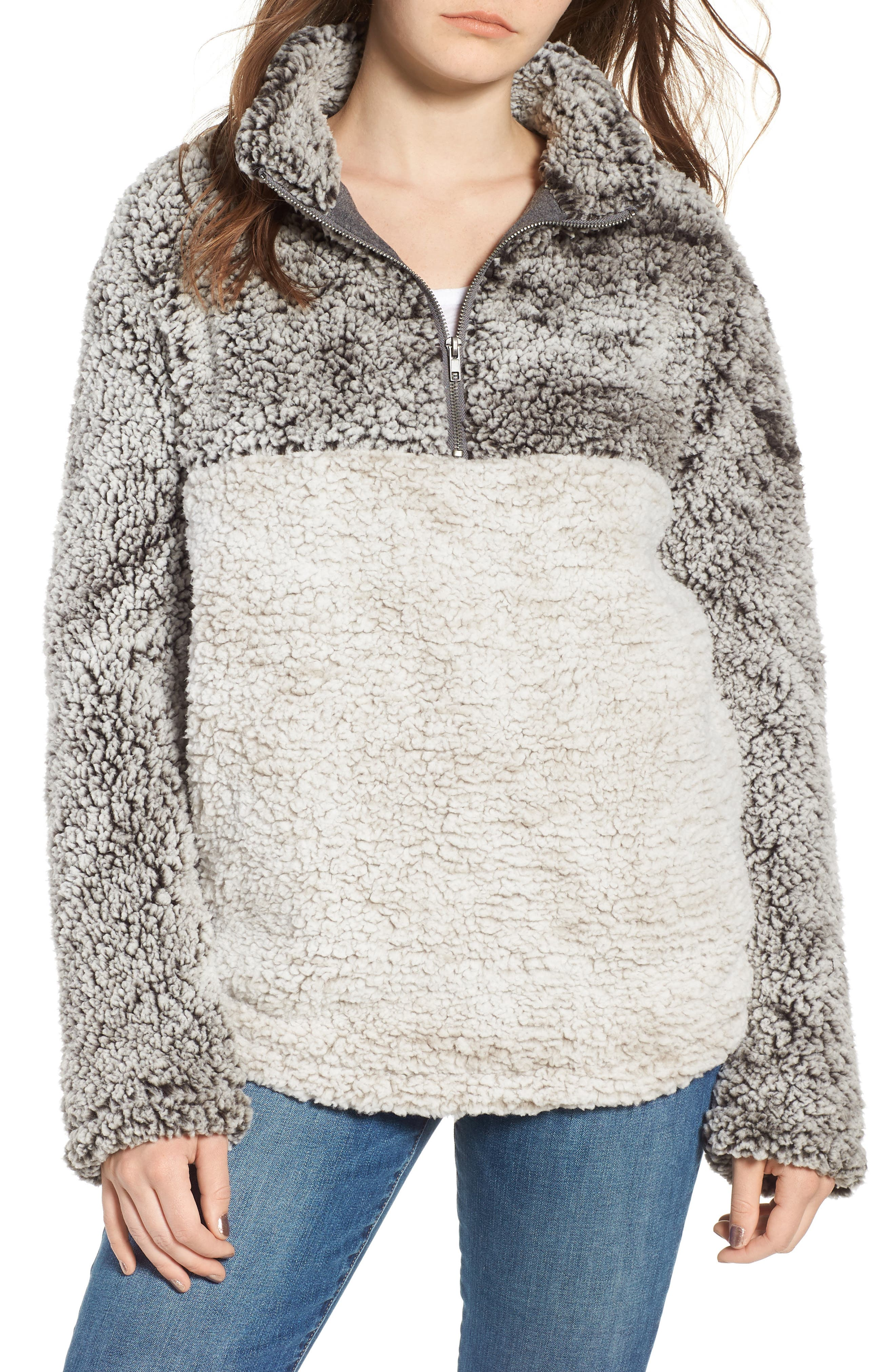 Wubby Fleece Pullover,                         Main,                         color, Charcoal/Ivory