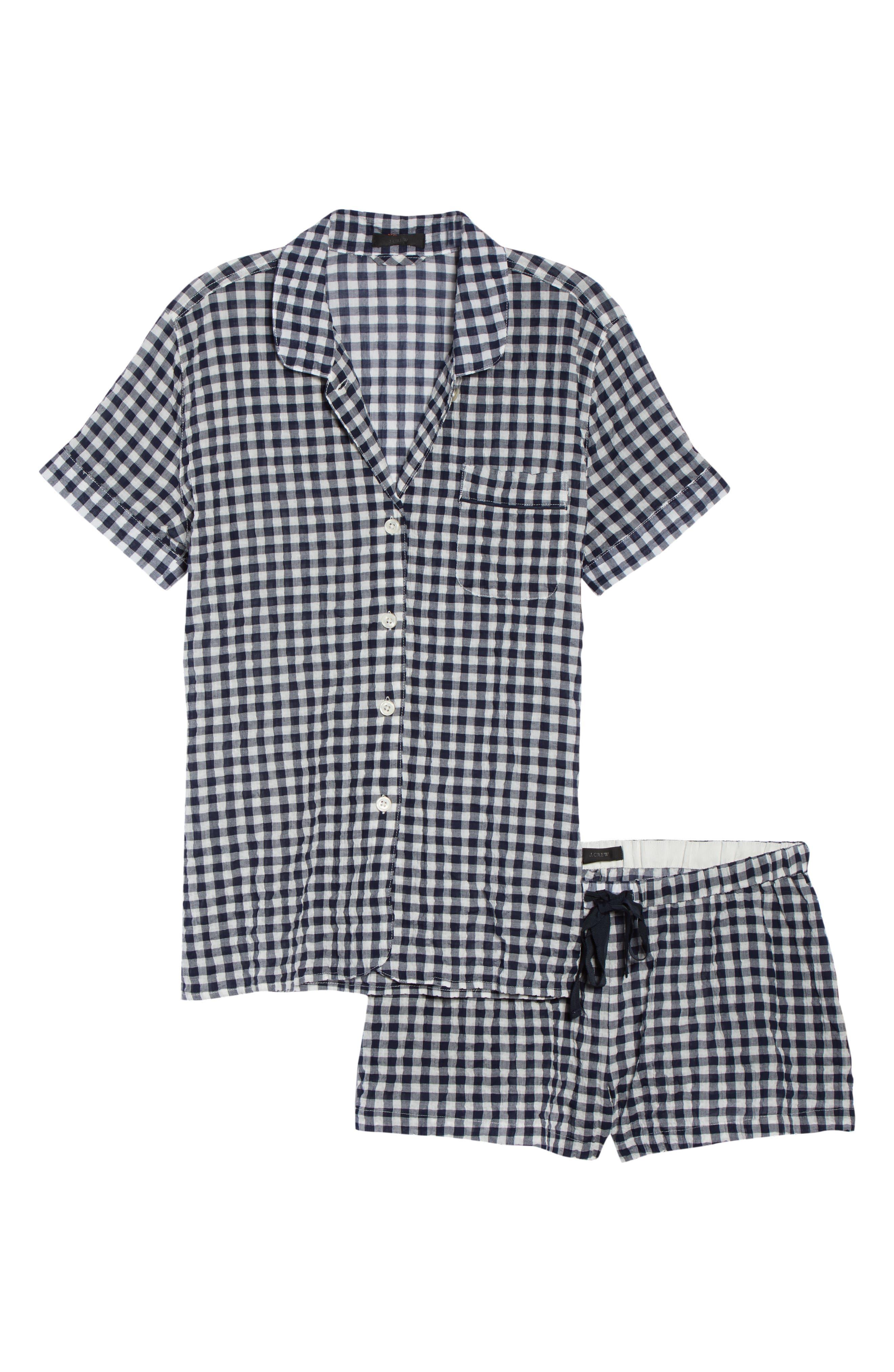 Gingham Pajama Set,                             Alternate thumbnail 6, color,                             Ivory/ Navy