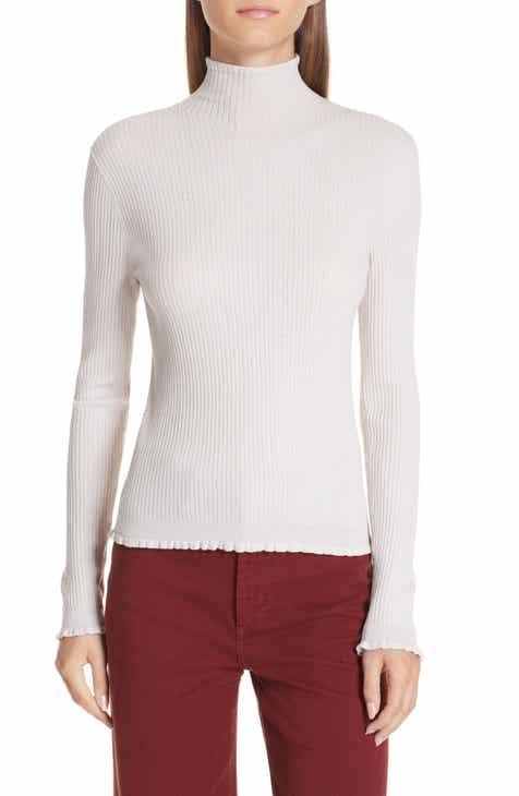 Vince Lettuce Edge Mock Neck Merino Wool Sweater by VINCE