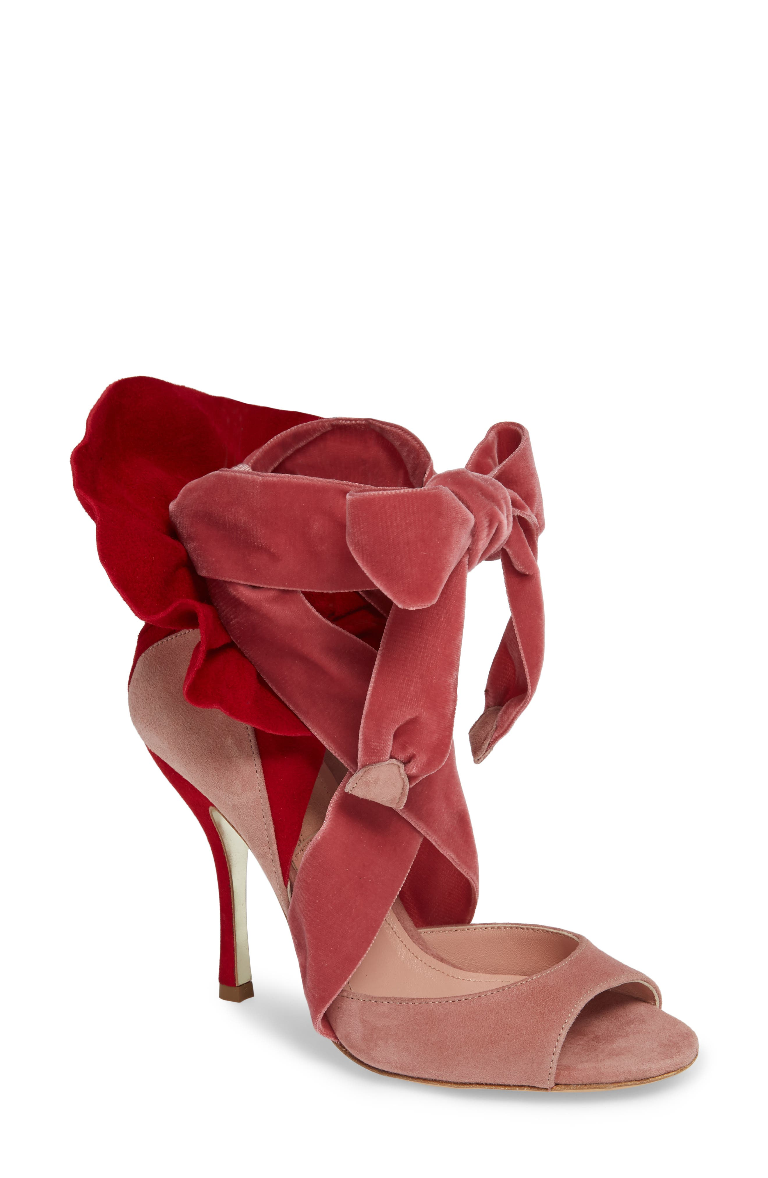Frills For All Sandal,                             Main thumbnail 1, color,                             Rose/ Red