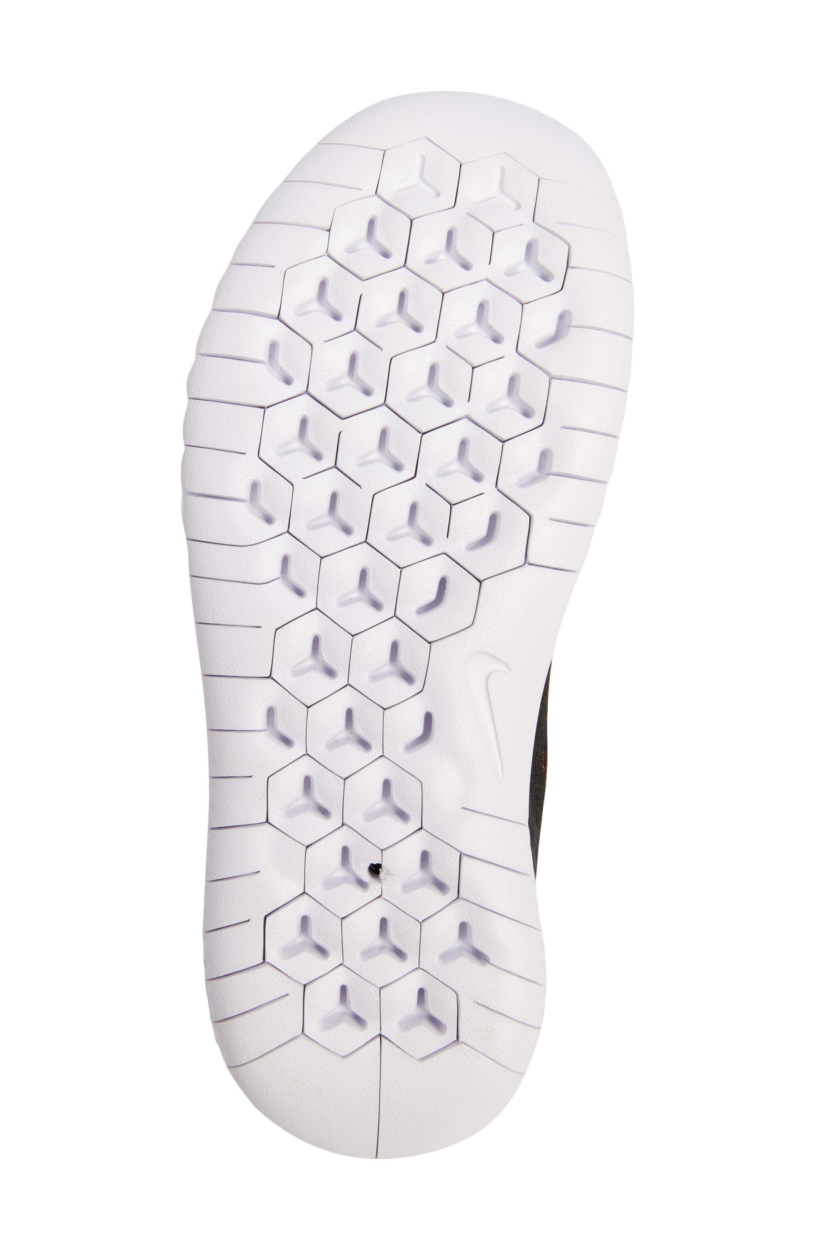 Free RN 2018 Running Shoe,                             Alternate thumbnail 6, color,                             Black/ White/ Pink/ Volt