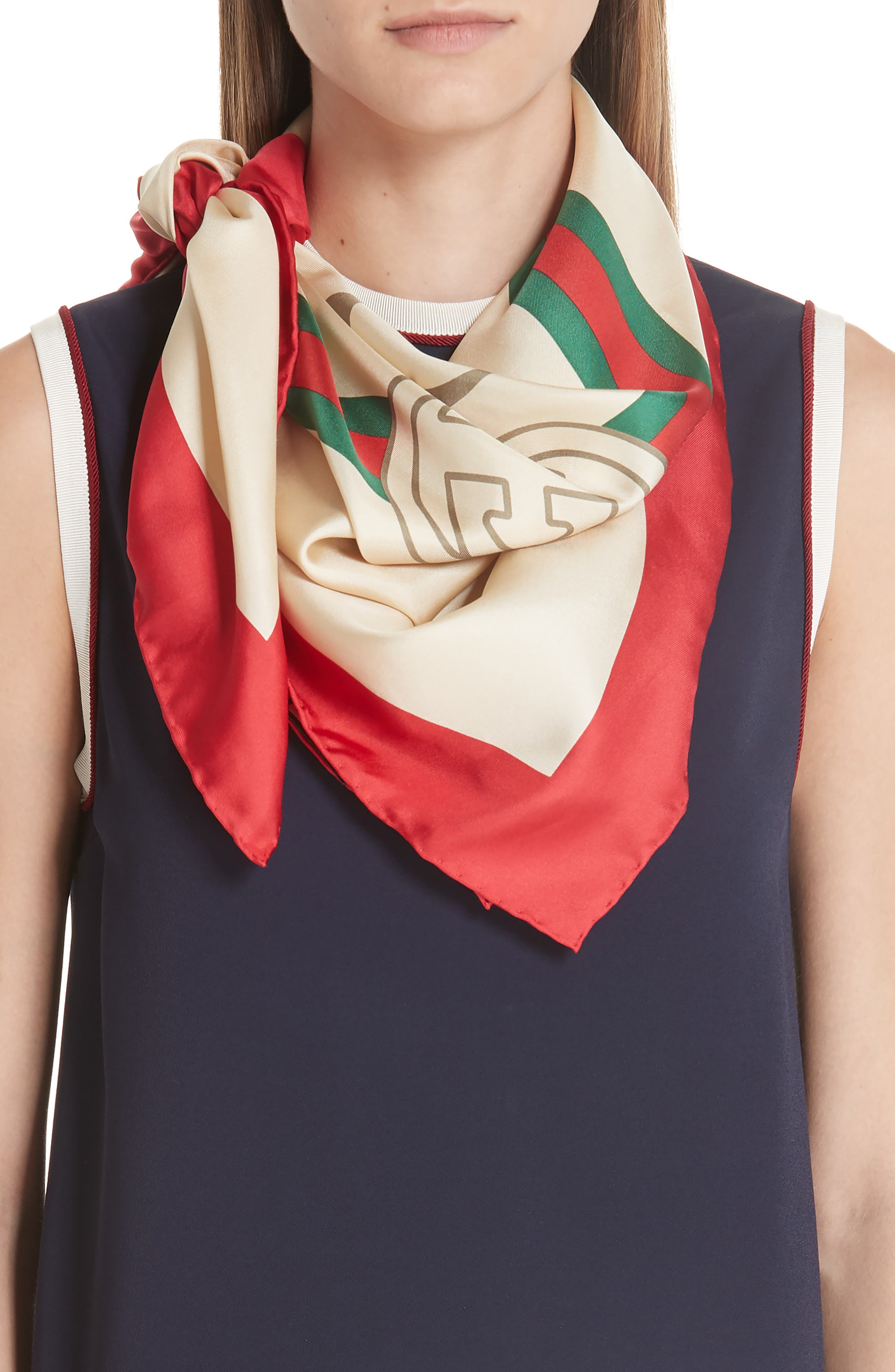 Future Logo Silk Twill Scarf,                             Alternate thumbnail 2, color,                             Ivory/ Red